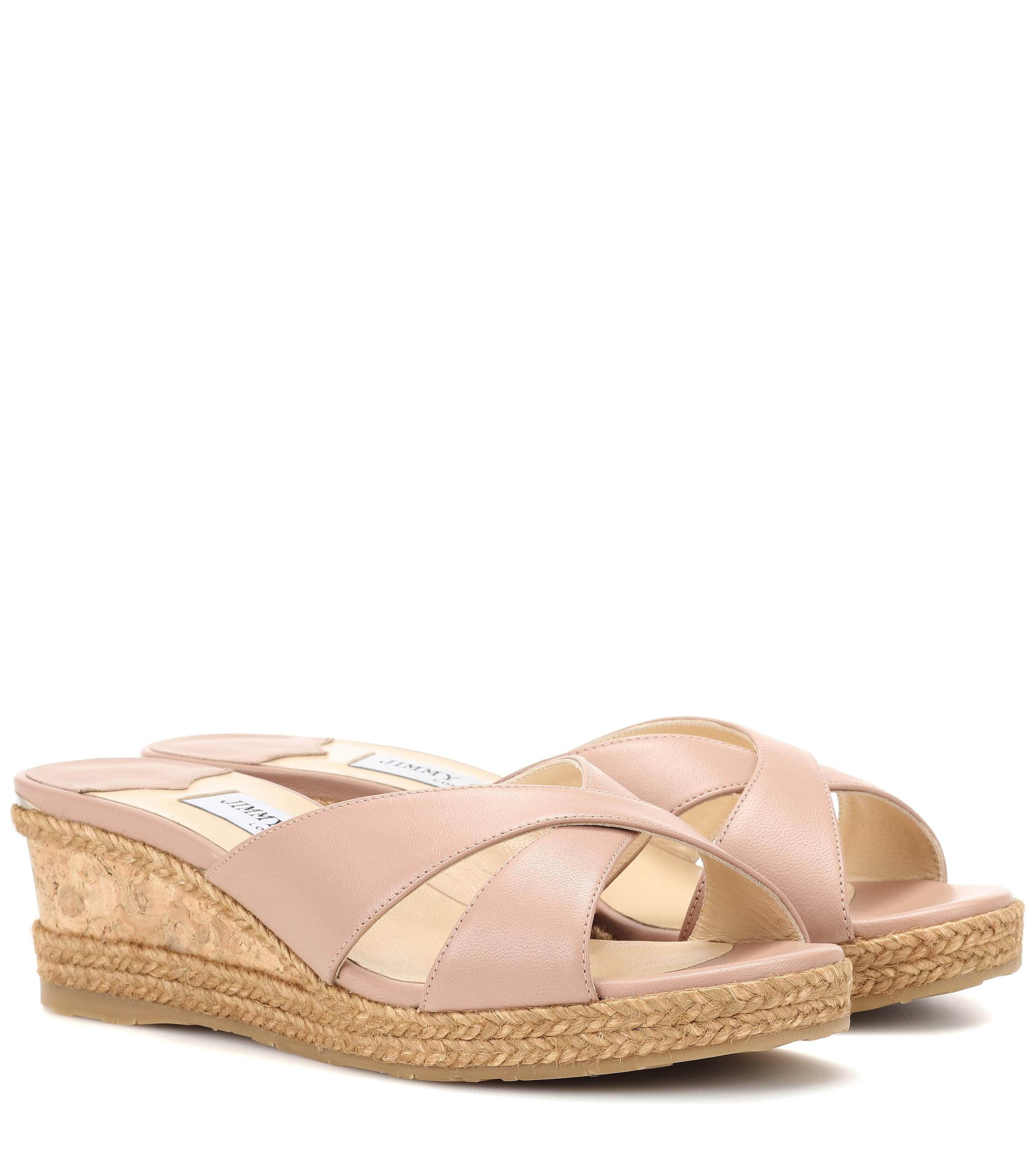 2acbb232f58b Jimmy Choo Almer 50 Leather Slides in Pink - Lyst