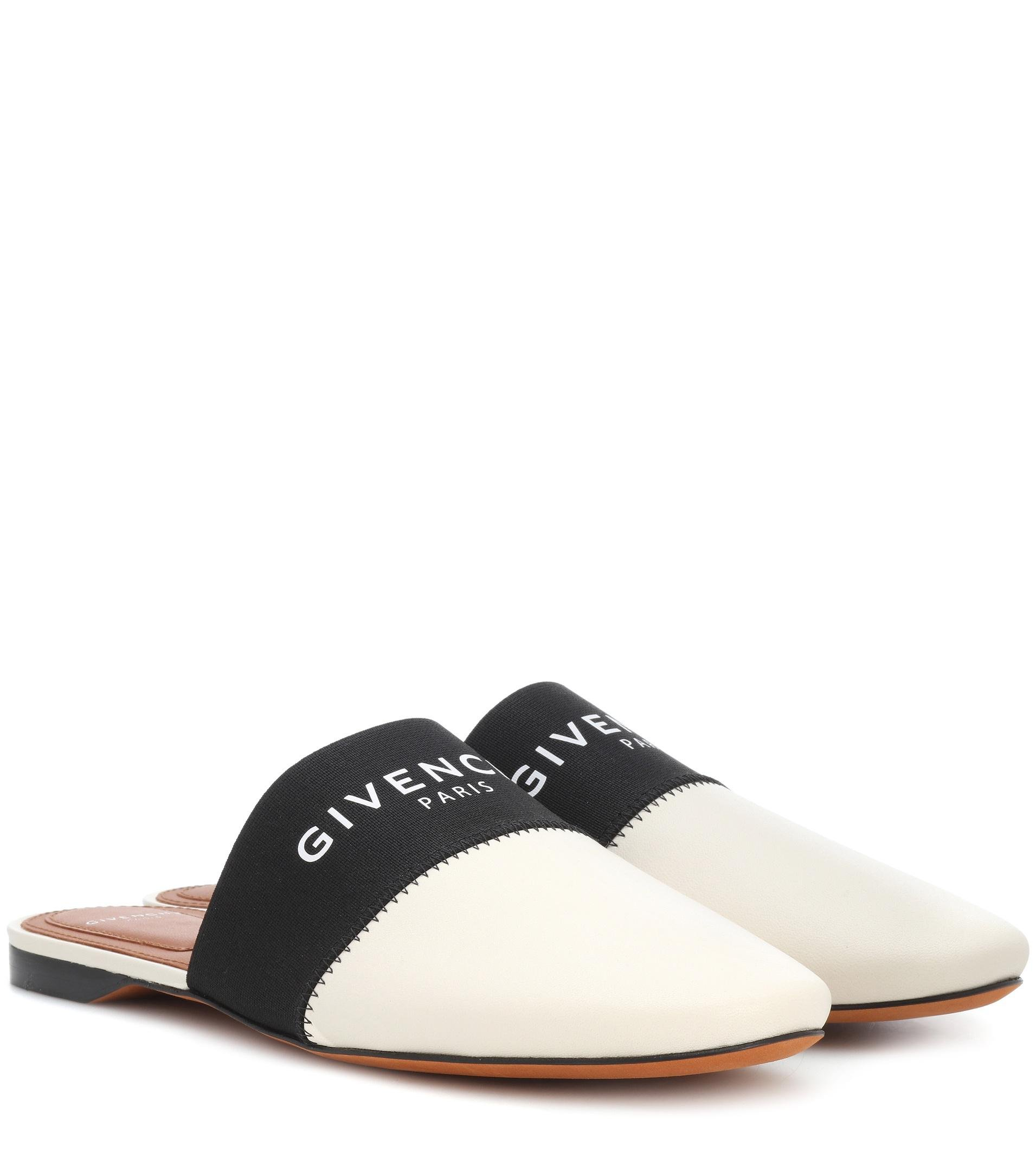 Givenchy Leather Slippers in White - Lyst