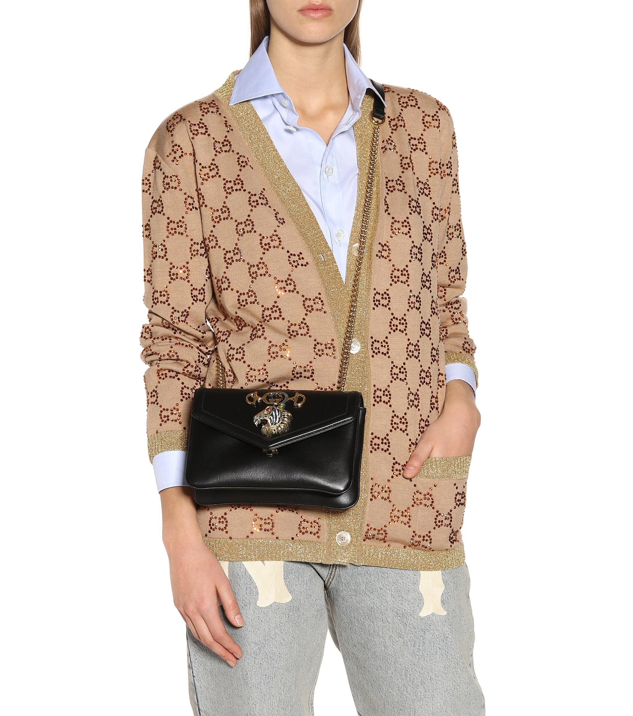 b2f2d7832 Gucci Rajah Small Leather Shoulder Bag in Black - Lyst