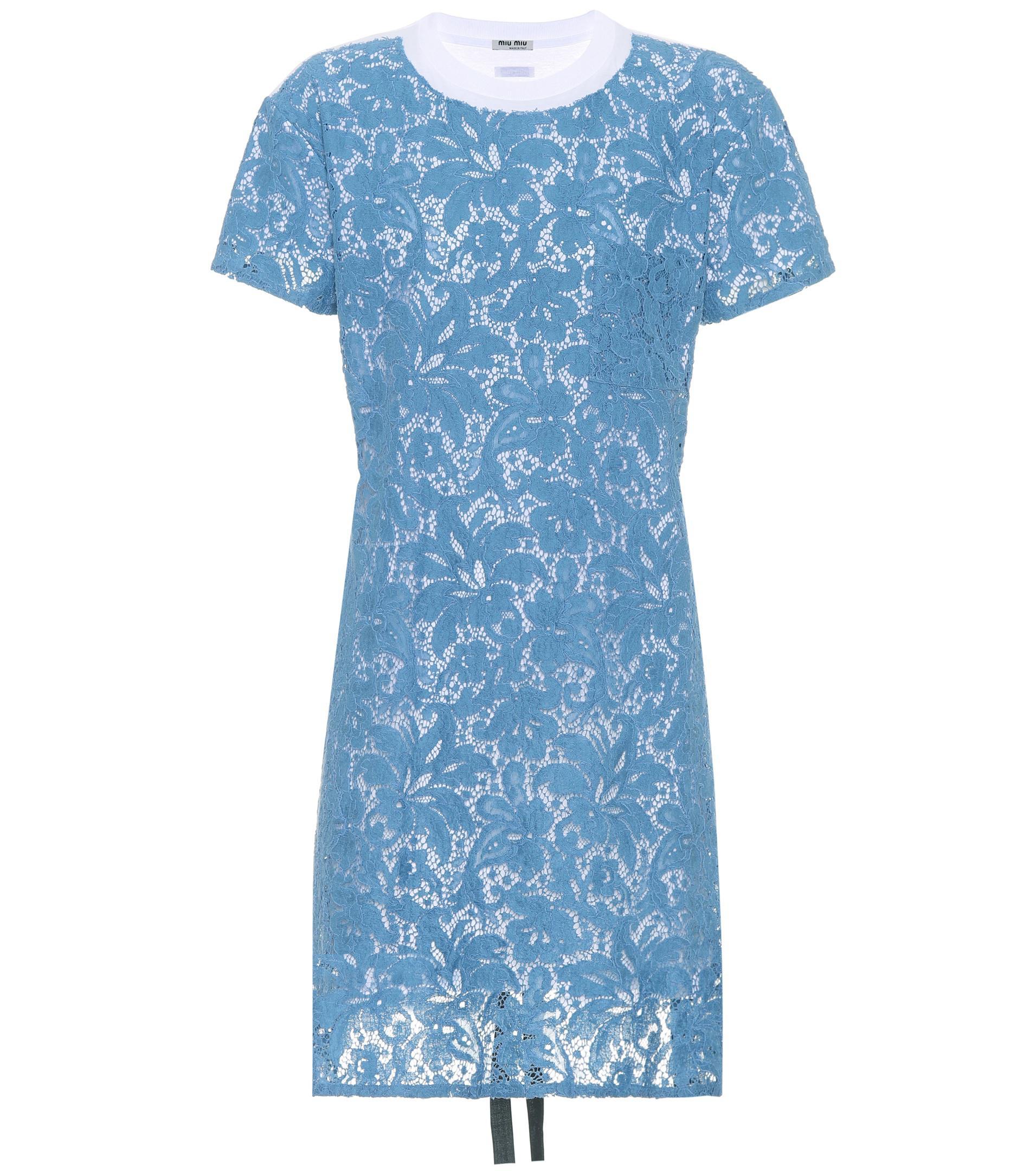 Lyst miu miu cotton lace t shirt dress in blue for Miu miu t shirt