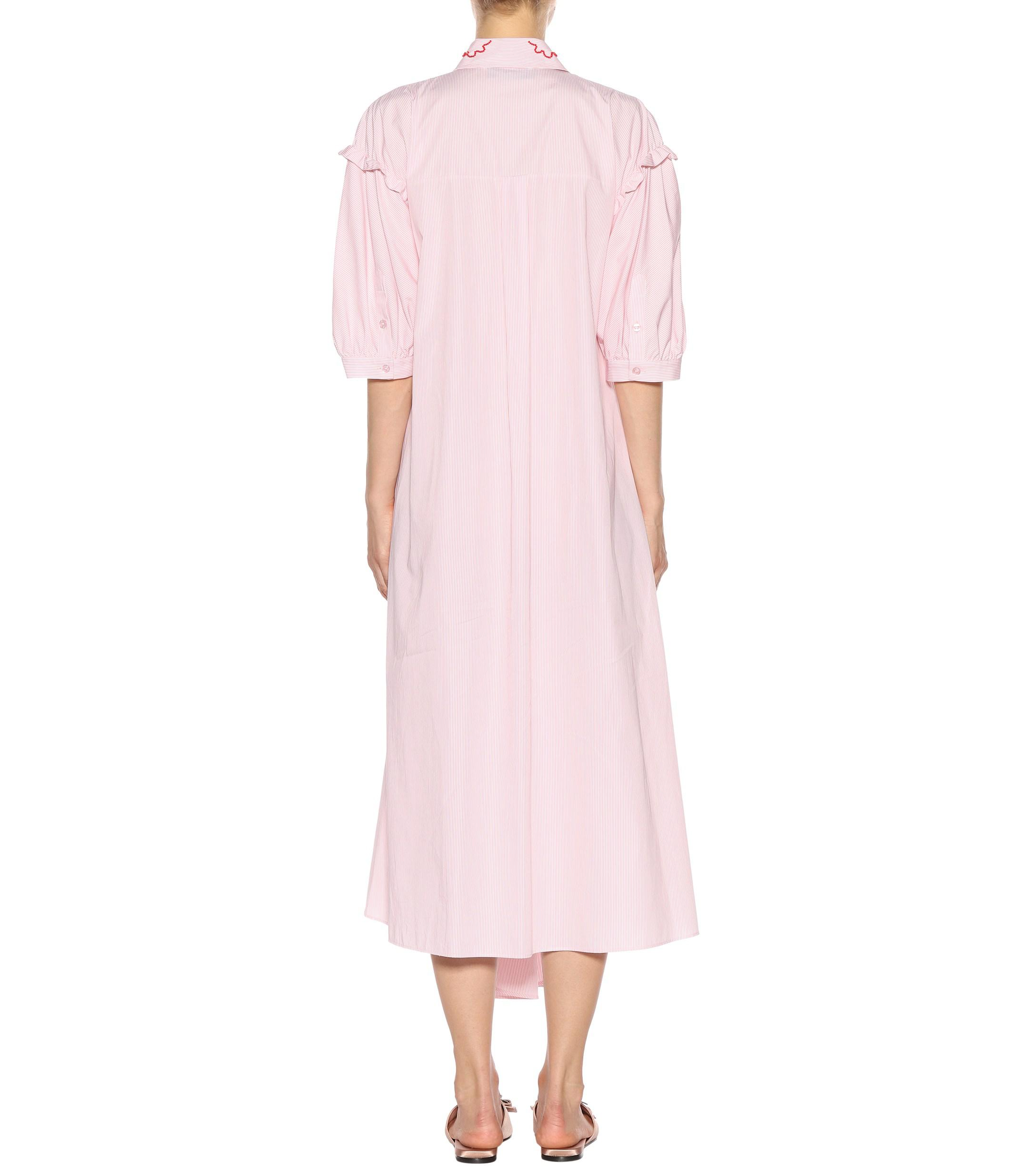 Robe chemise en coton à rayures Simone Rocha en coloris Rose