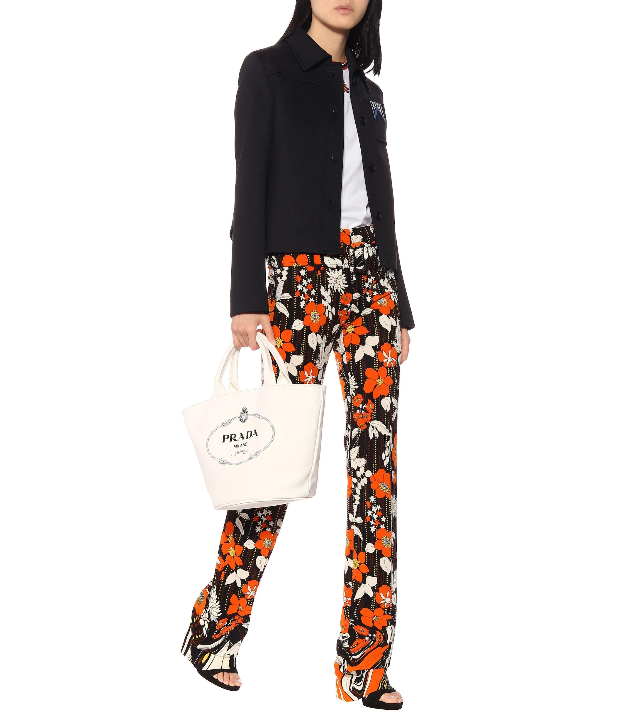 Pantalones de punto fino florales Prada de color Marrón