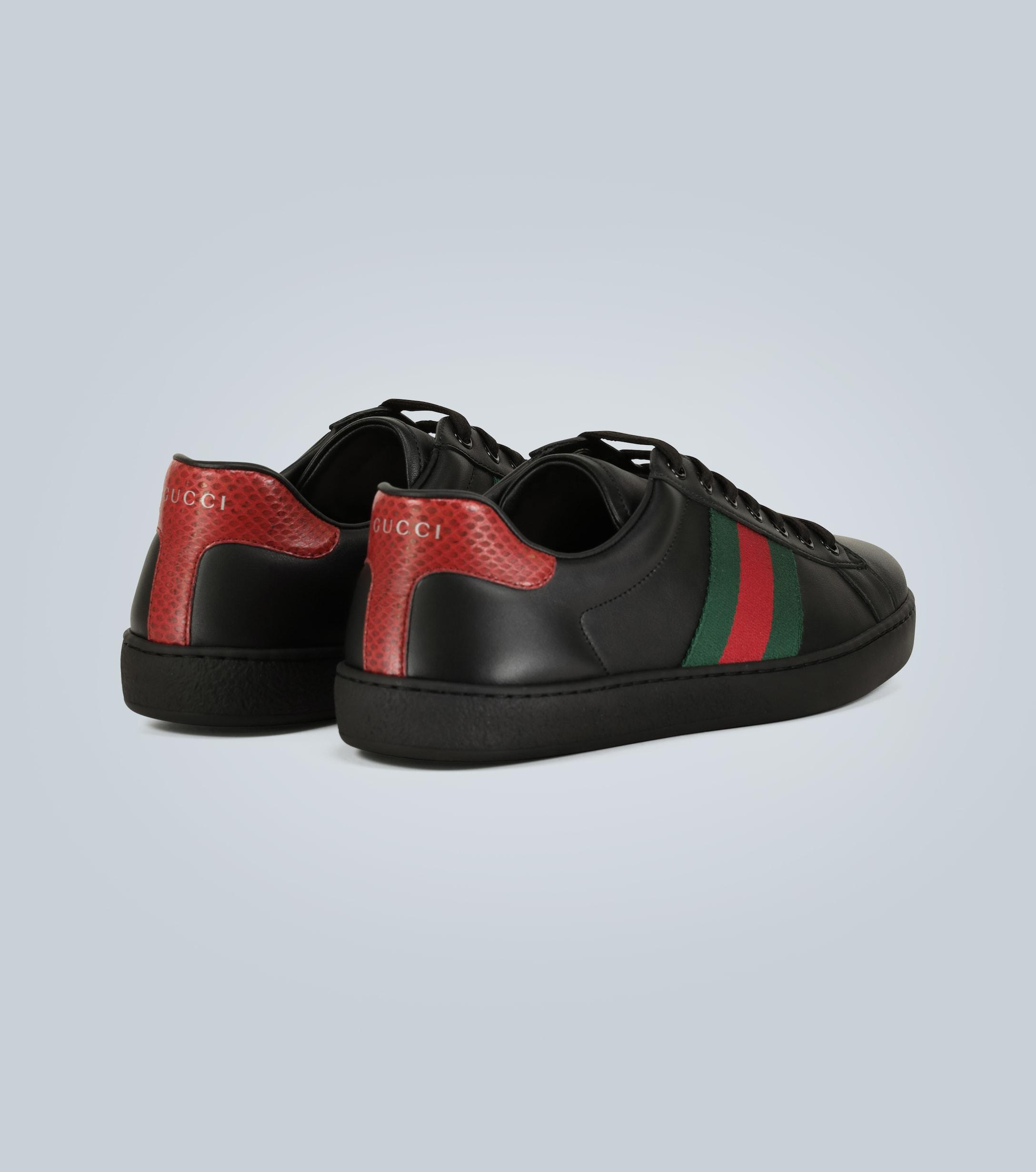 Gucci Ace Leather Sneaker in Black