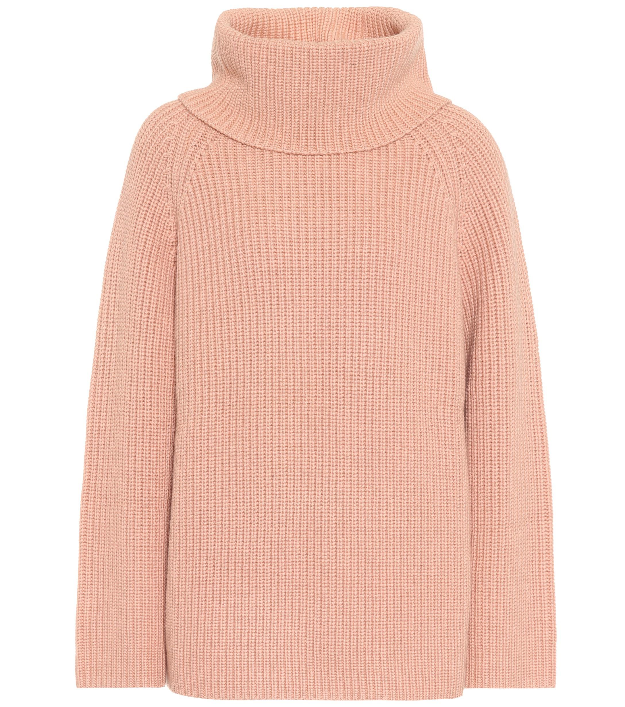 Lyst - Pull à col roulé en laine Chloé en coloris Rose 037b4651ac2