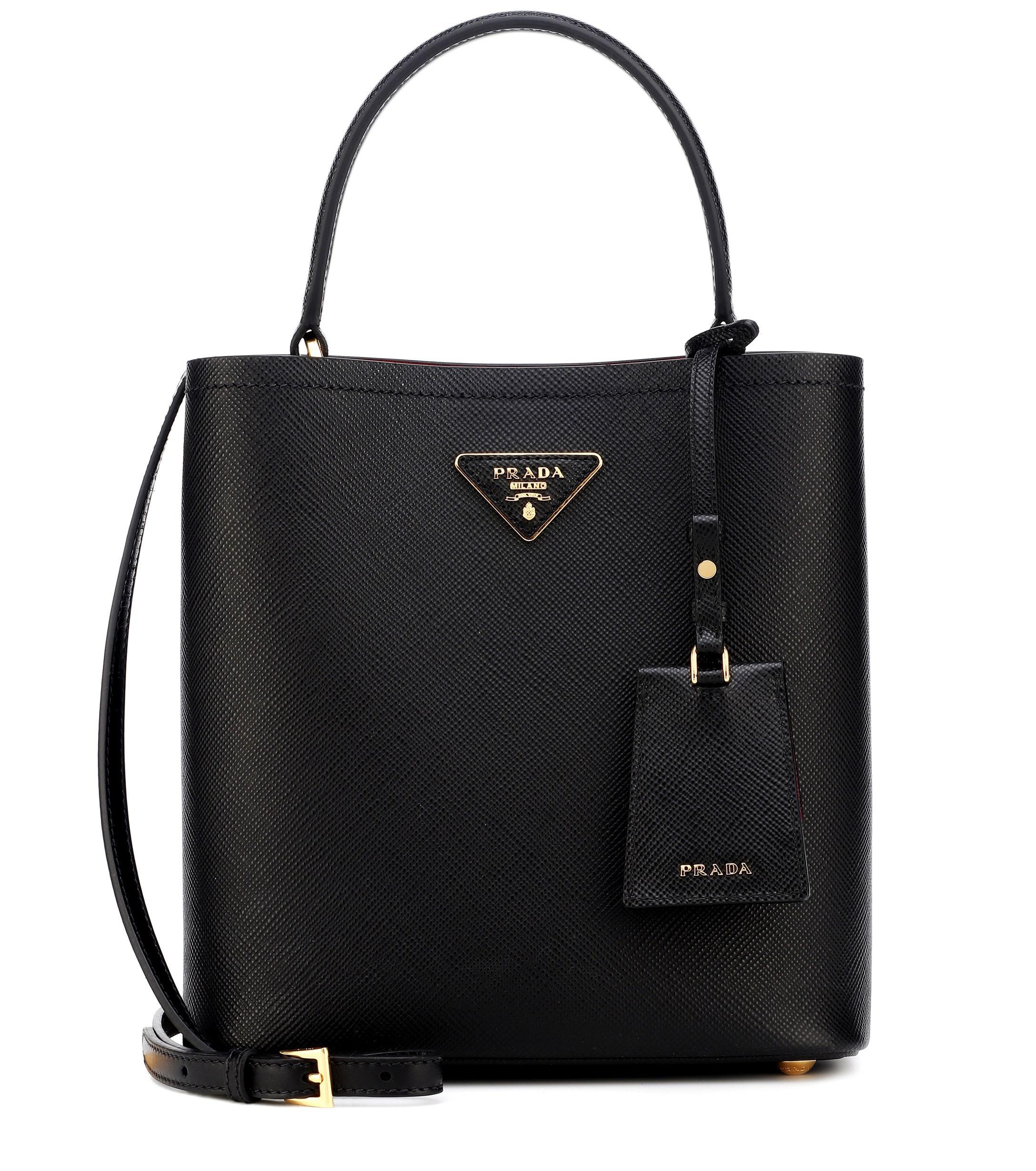Lyst - Prada Double Medium Leather Bucket Bag in Black e98095a57b24d