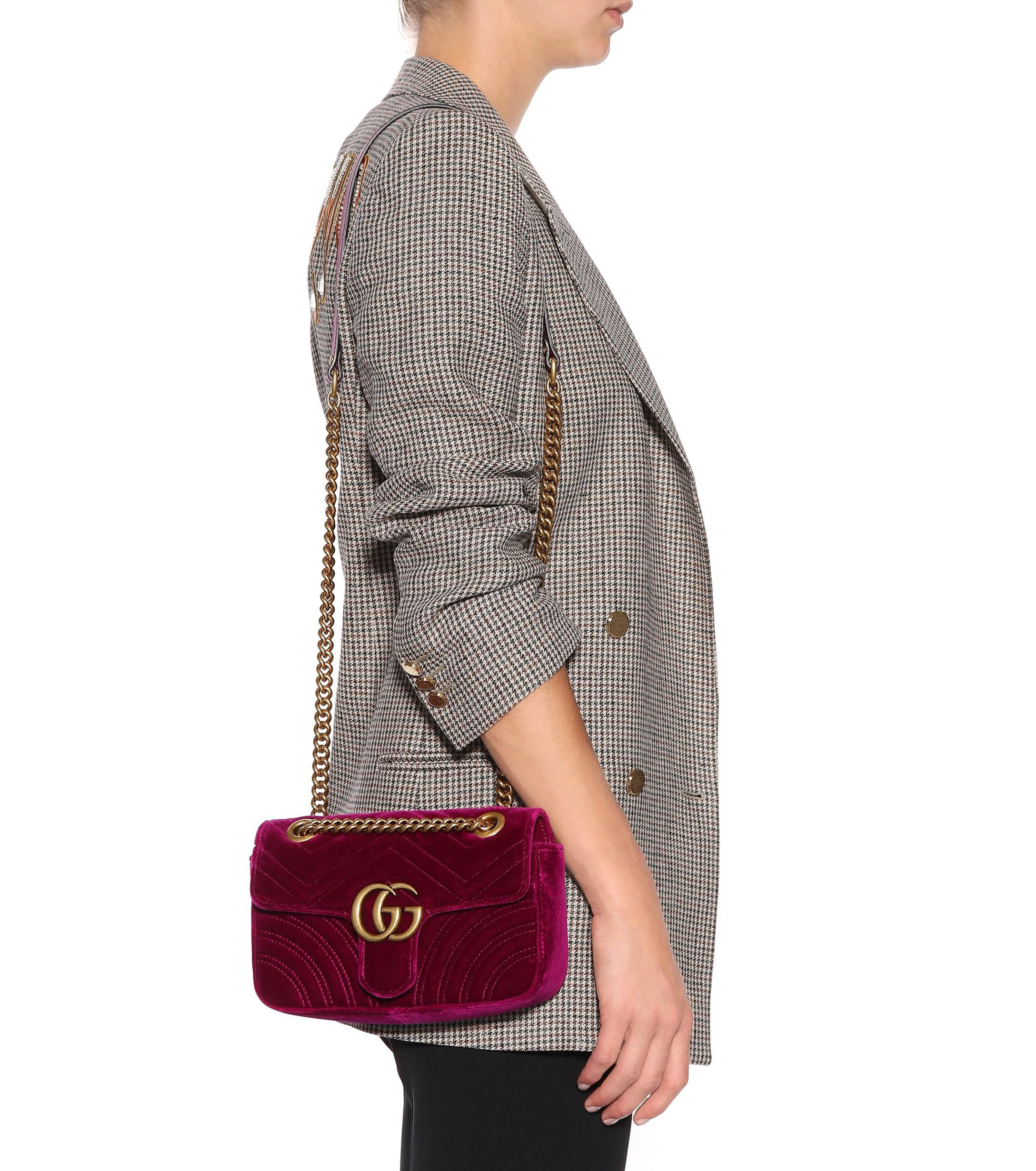 8635612b180b Gucci - Purple GG Marmont Mini Velvet Shoulder Bag - Lyst. View fullscreen