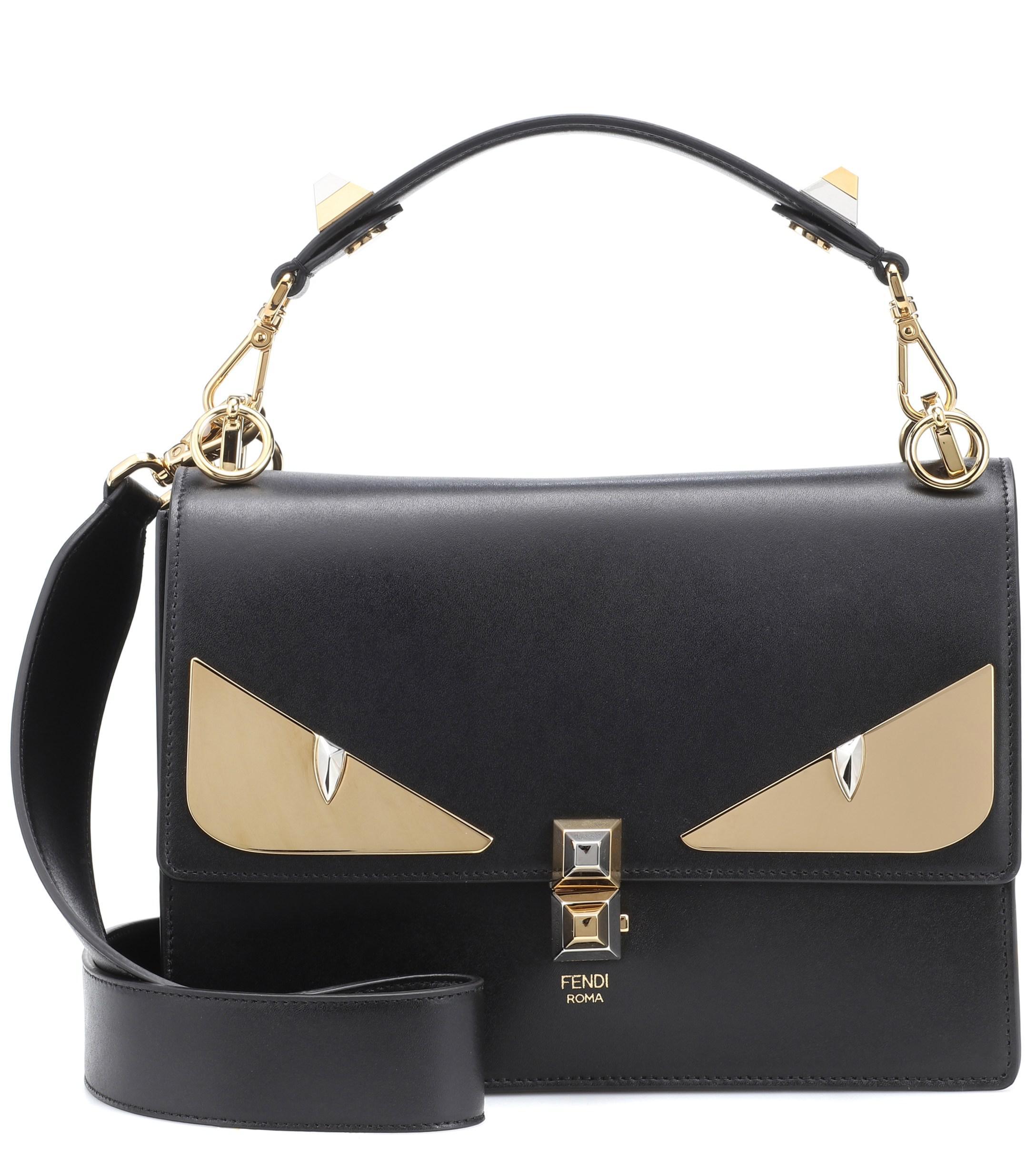 5598b13ba90 Lyst - Fendi Kan I Leather Shoulder Bag in Black
