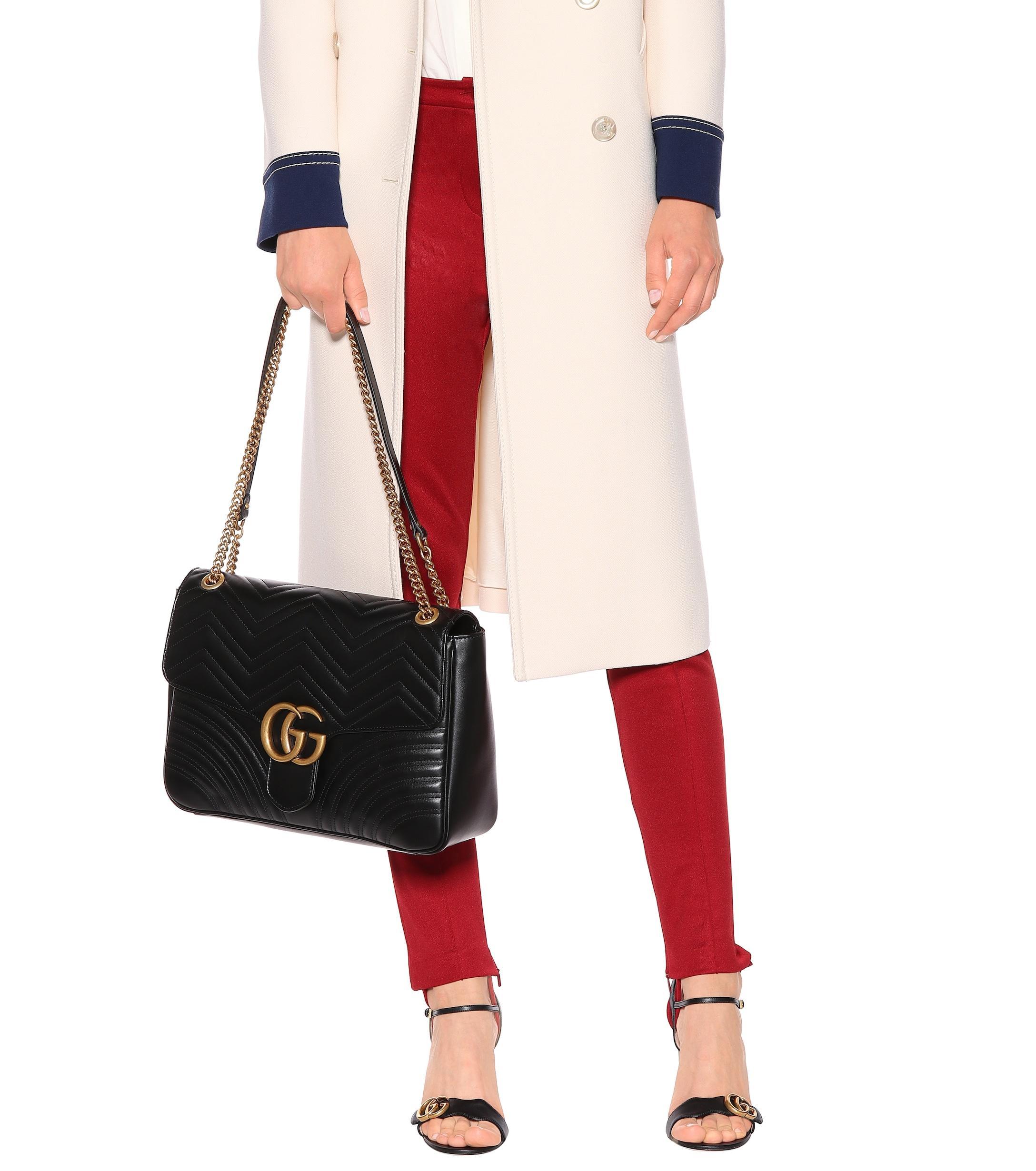 d18e87fd1ec885 Gucci - Black GG Marmont Large Shoulder Bag - Lyst. View fullscreen