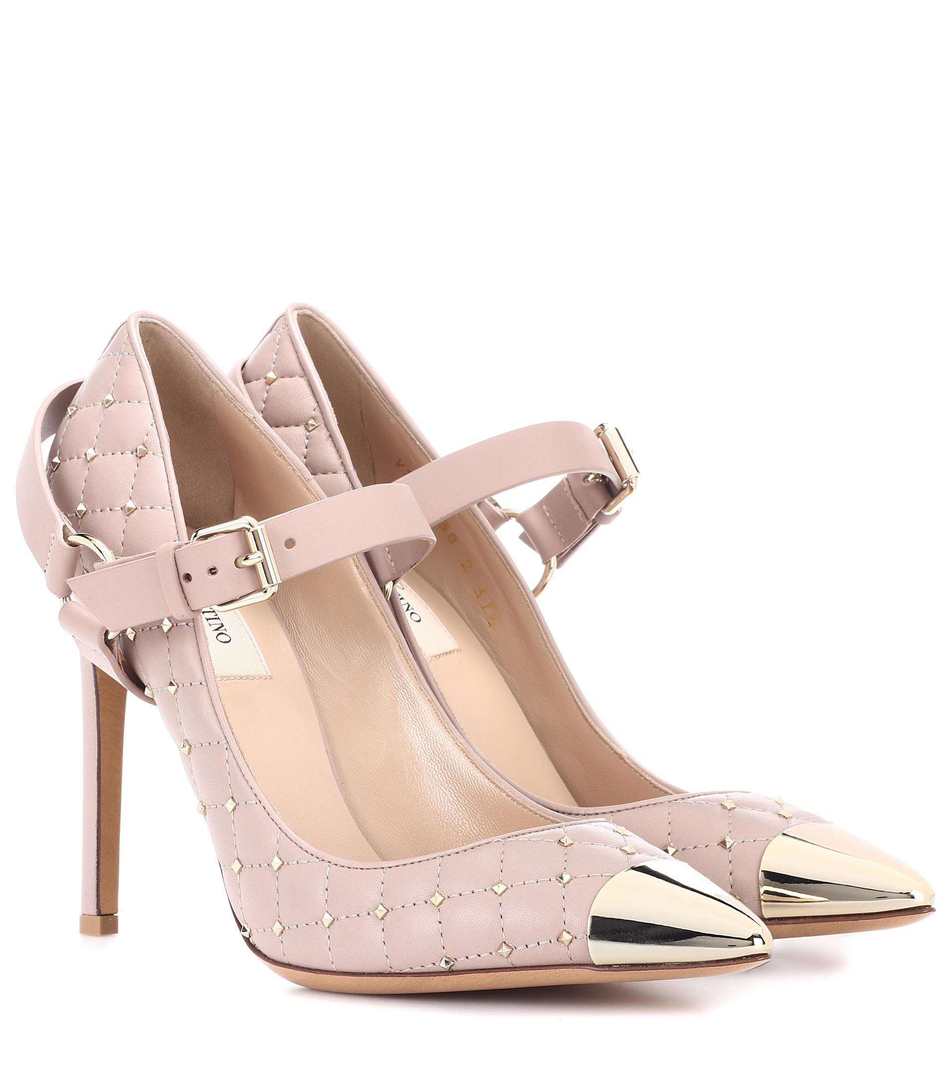 pink Rockstud Spike 105 quilted leather sandals Valentino mMcJJxE6n