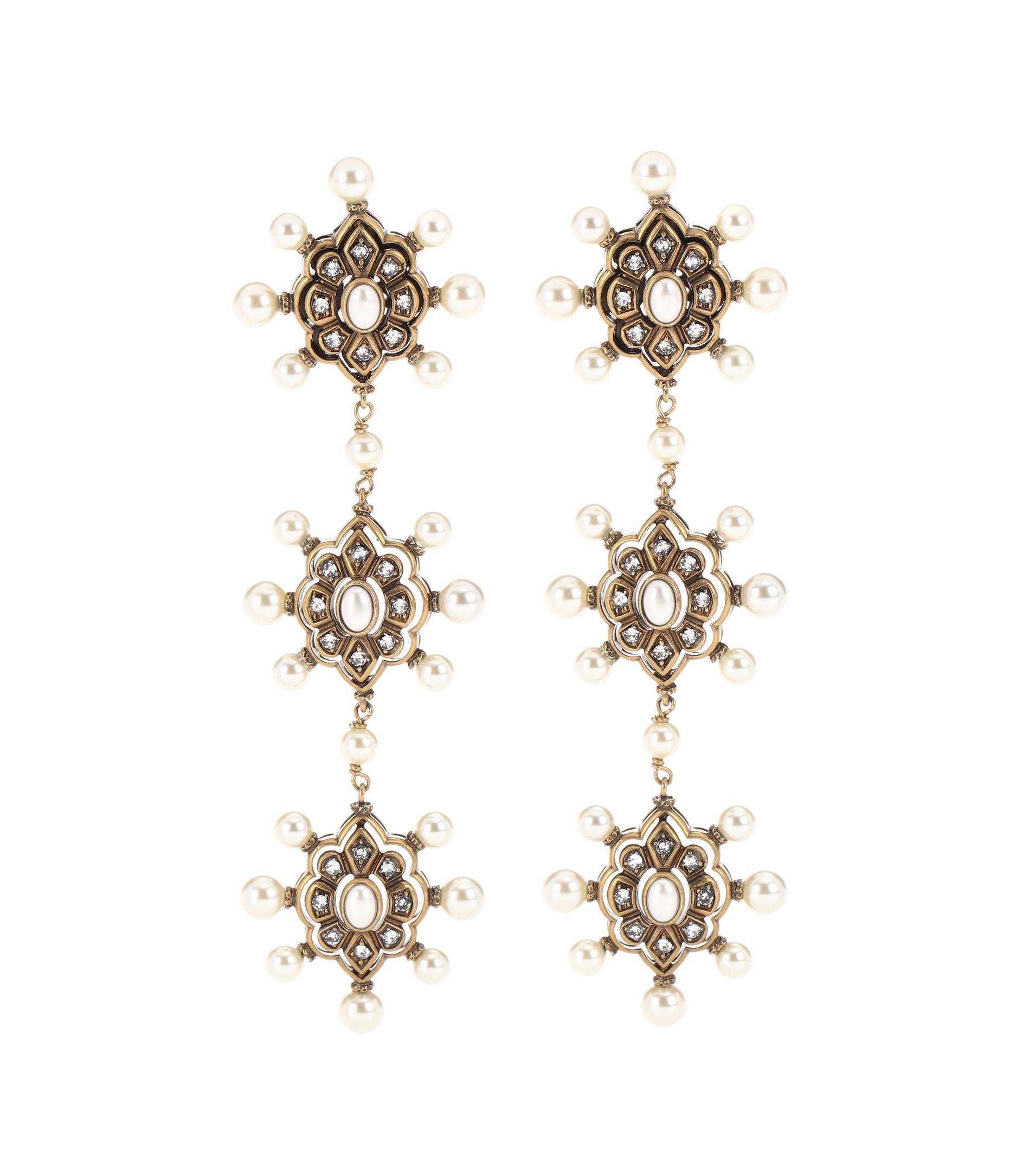 30b5193fd69 Lyst - Gucci Embellished Earrings in Metallic
