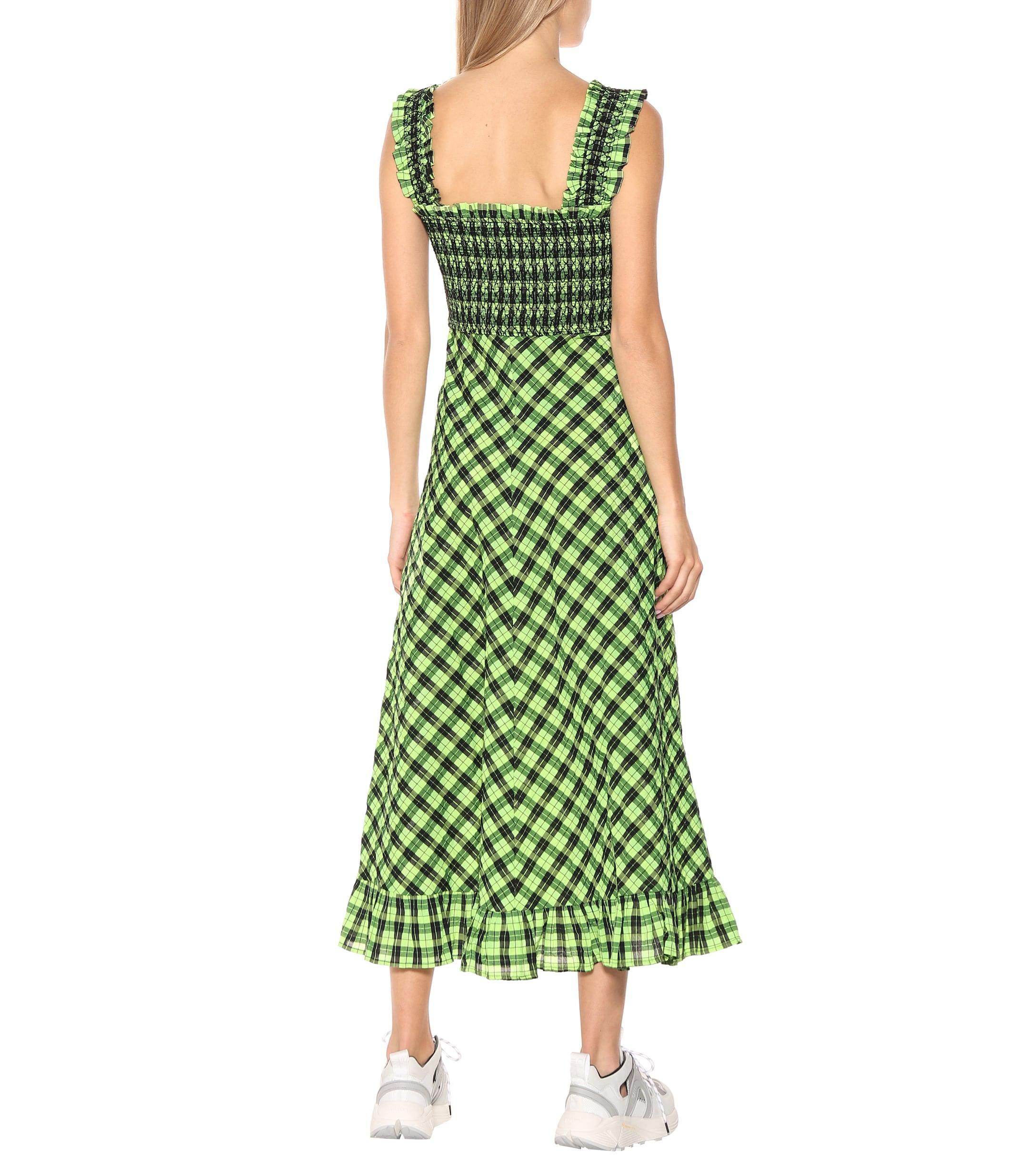 ganni seersucker dress green