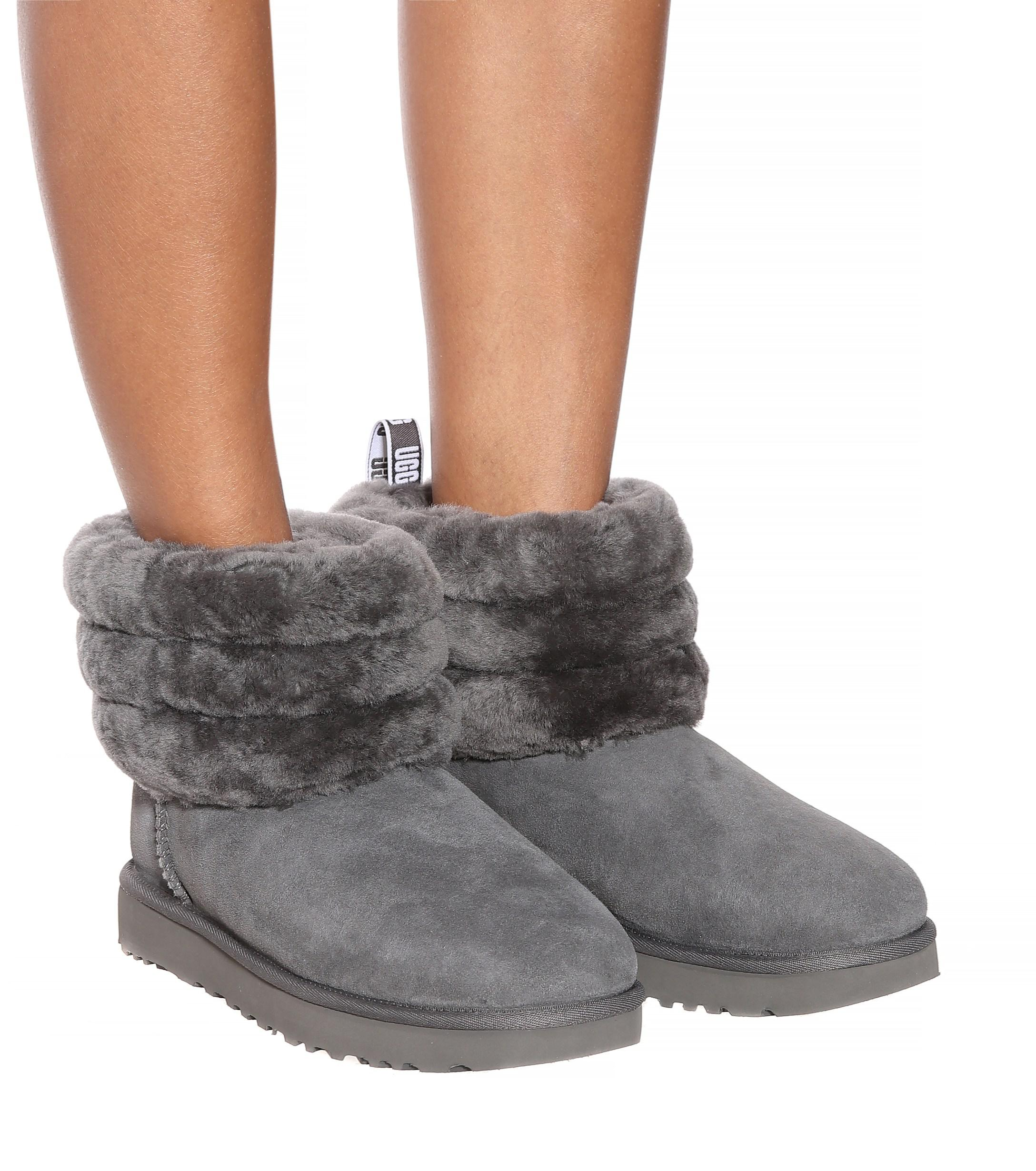 UGG Fluff Mini Suede Ankle Boots in