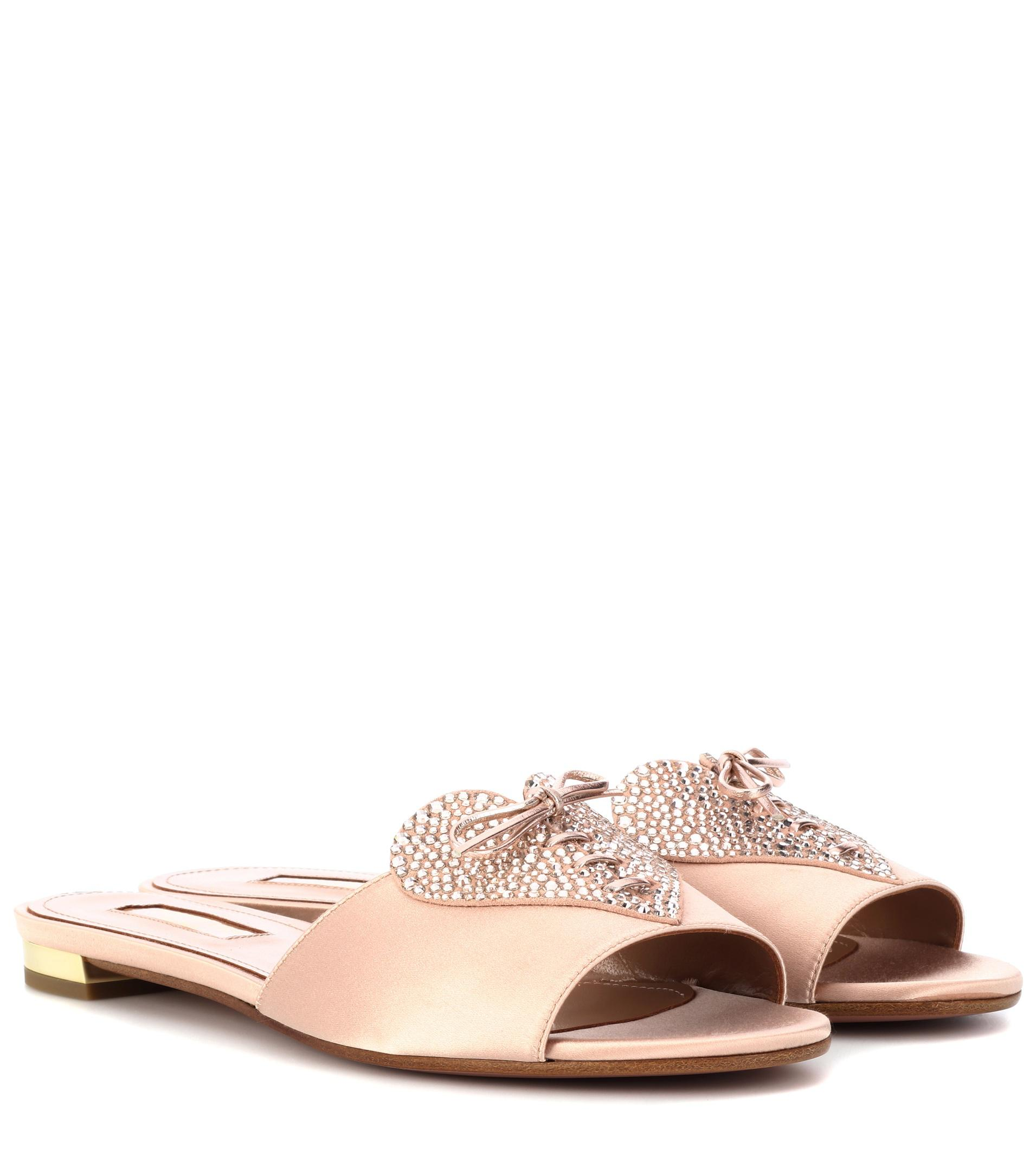 36426f598d98 Aquazzura Heartbeat Crystal-embellished Slides in Pink - Lyst