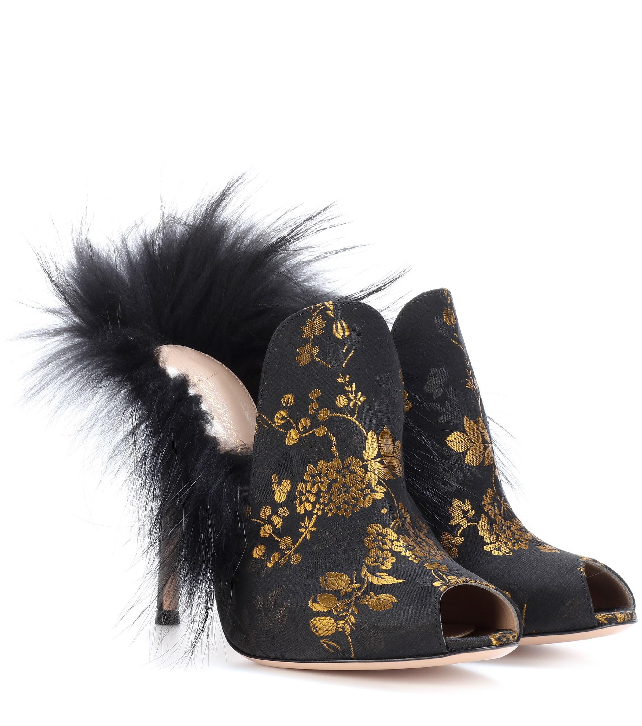 de96674f69d Lyst - Gianvito Rossi Fur-lined Brocade Mules in Black