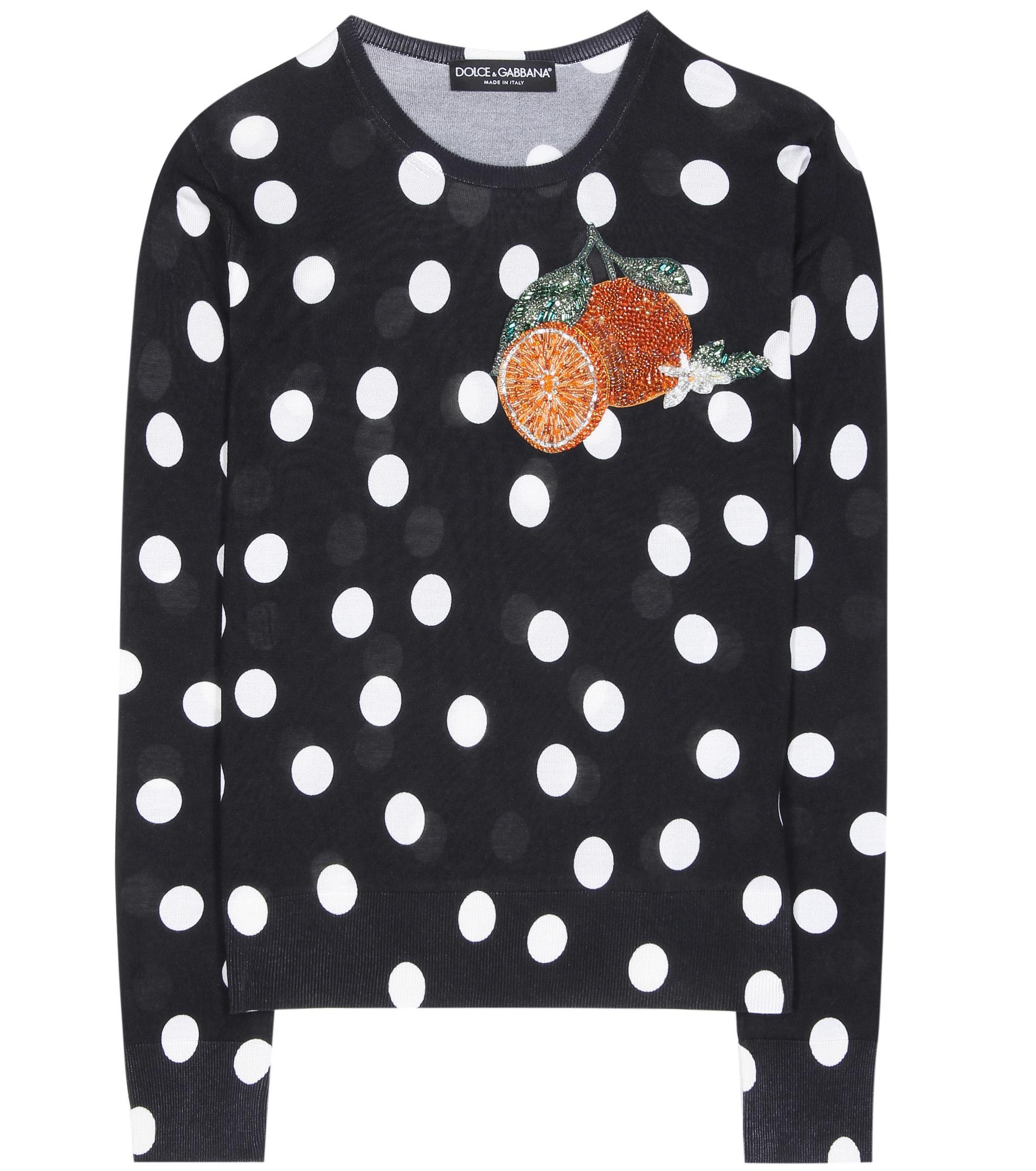 e6aee5da1478 Dolce   Gabbana Appliquéd Polka-dot Silk Sweater in Black - Lyst