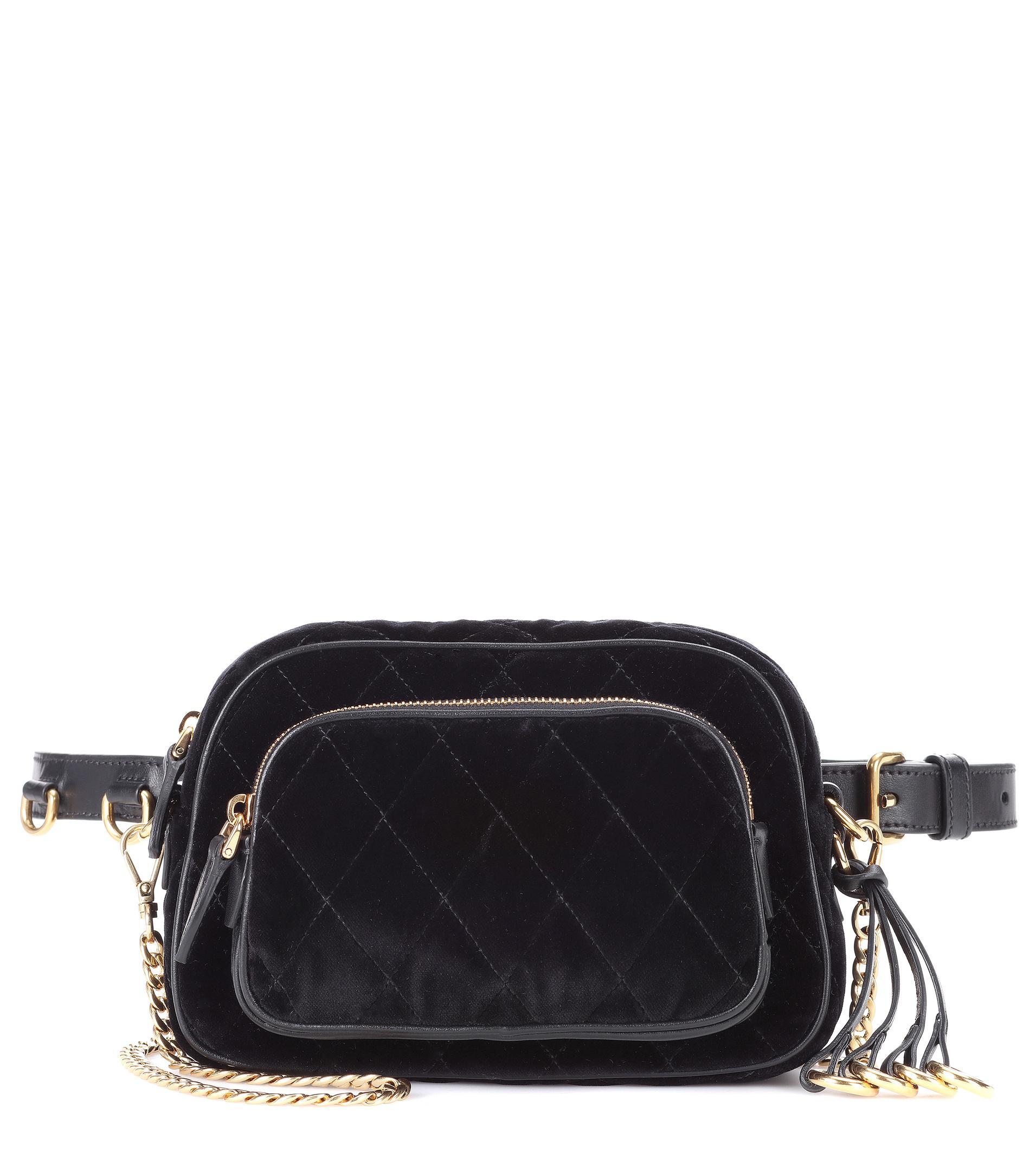 Prada Velvet Belt Bag In Black Lyst