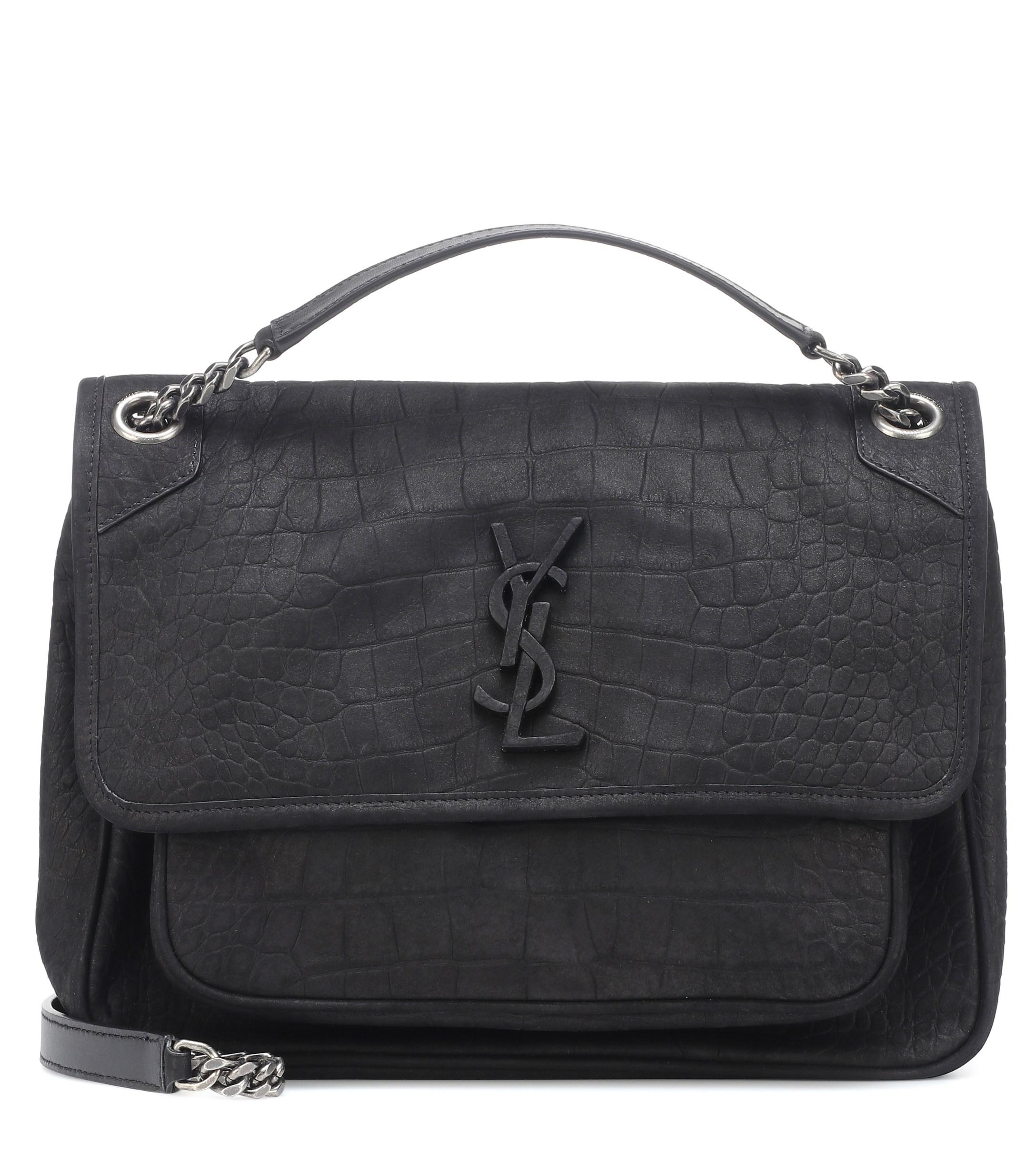 df67e9873dbc Lyst - Saint Laurent Medium Niki Suede Shoulder Bag in Black