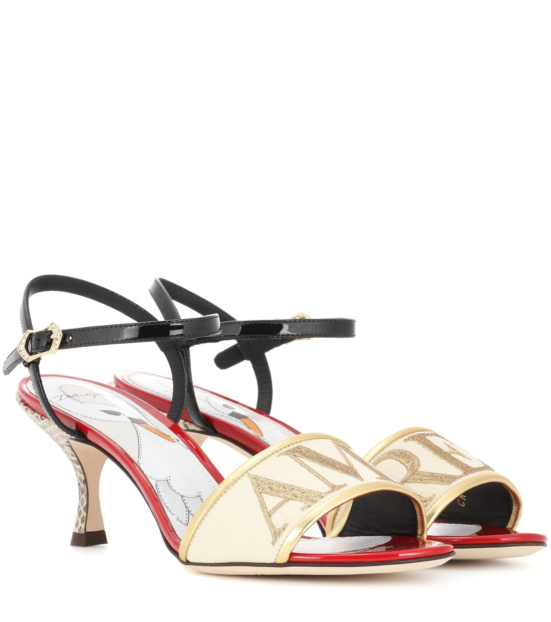 Dolce & Gabbana Amore leather and snakeskin sandals yR3cBNto