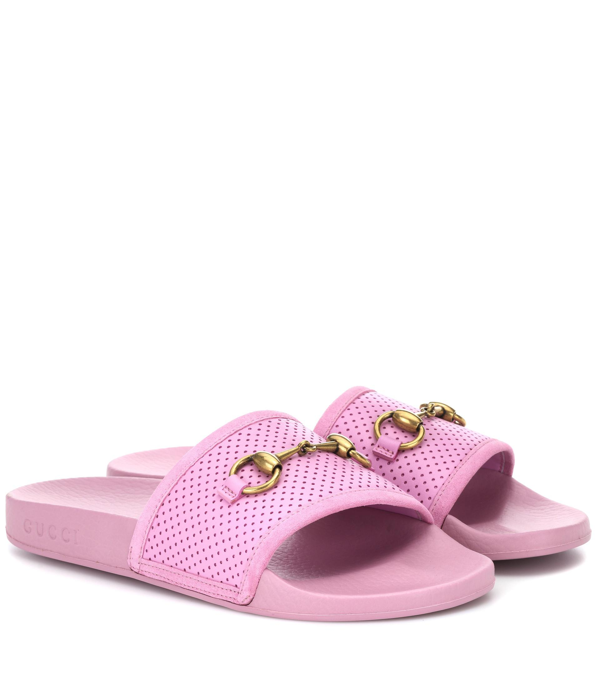 7496b18c9fc Gucci Horsebit Leather Slides in Pink - Lyst
