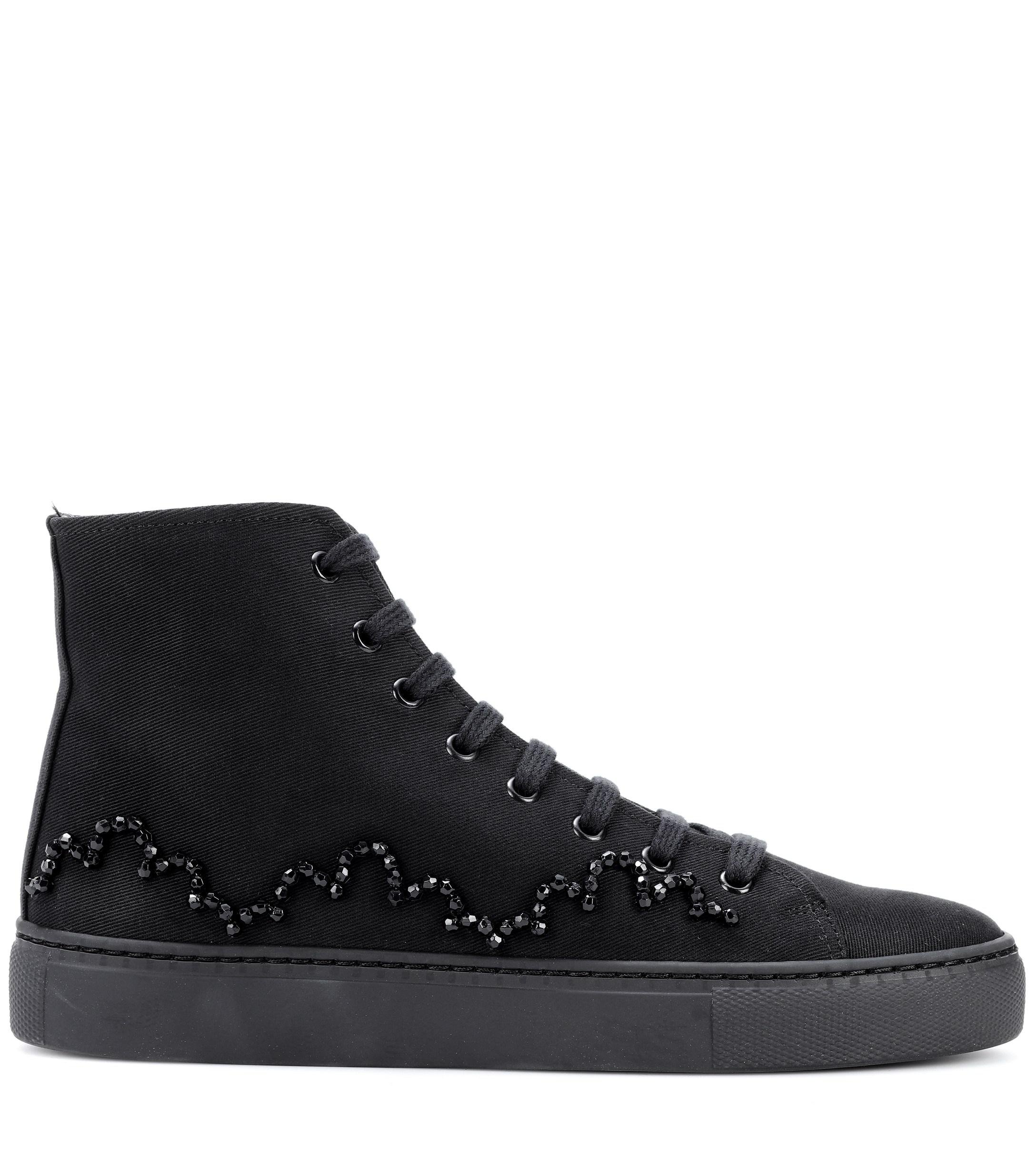 Simone Rocha Embellished Canvas Sneakers in Black