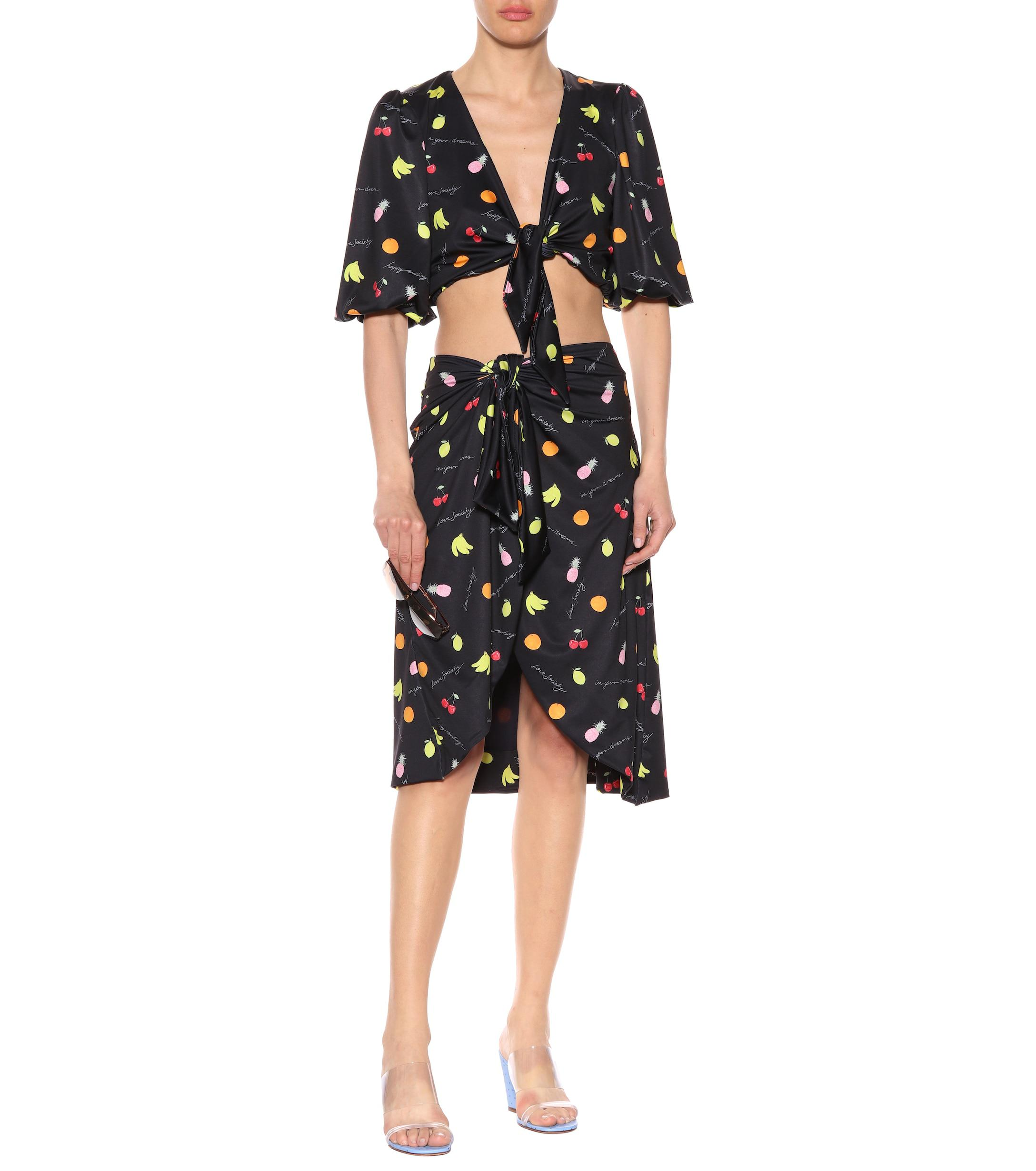 75c53e5f Ganni Exclusive To Mytheresa.com – Printed Crop Top in Black - Lyst