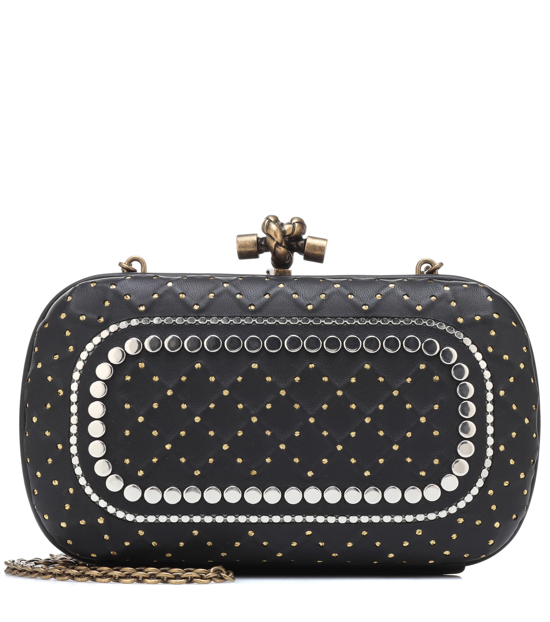 Bottega Veneta Snakeskin Studded Knot Clutch Bag in Black - Save ... a24dfd36ad031