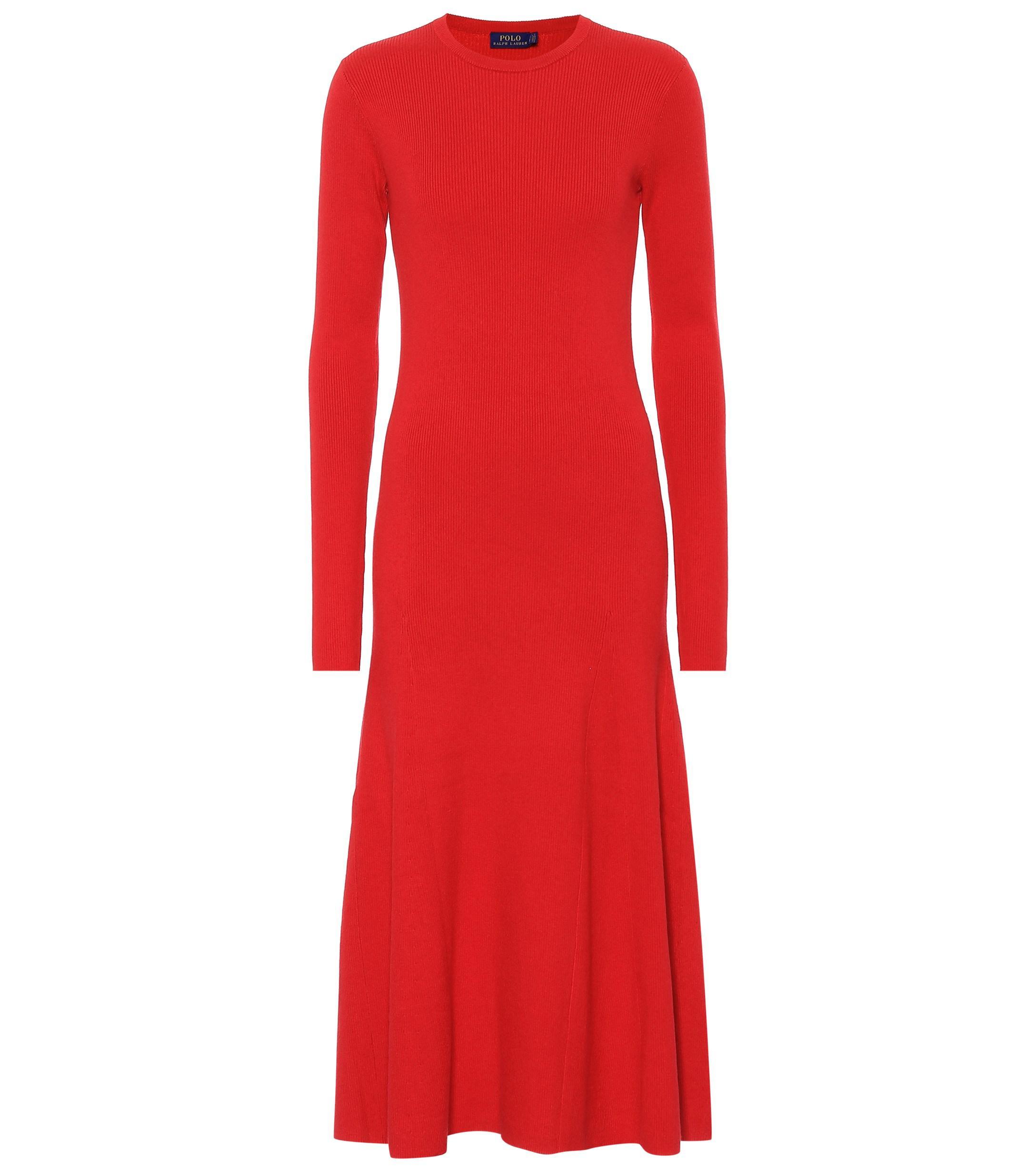cc2ec51c88da Polo Ralph Lauren - Red Cotton-blend Knit Dress - Lyst. View fullscreen