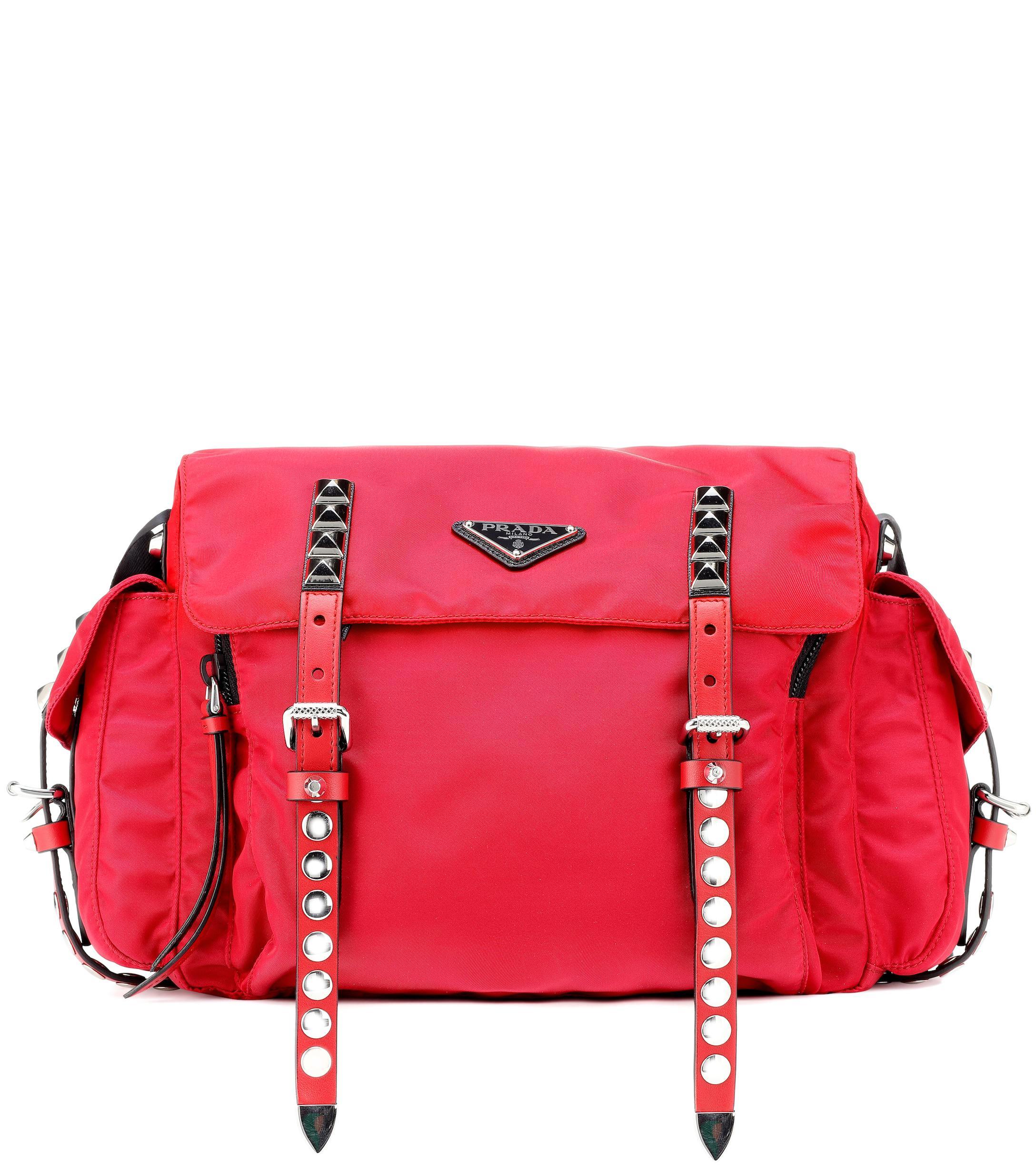 3cd9cf3da4e2 Prada Nylon Shoulder Bag in Red - Lyst