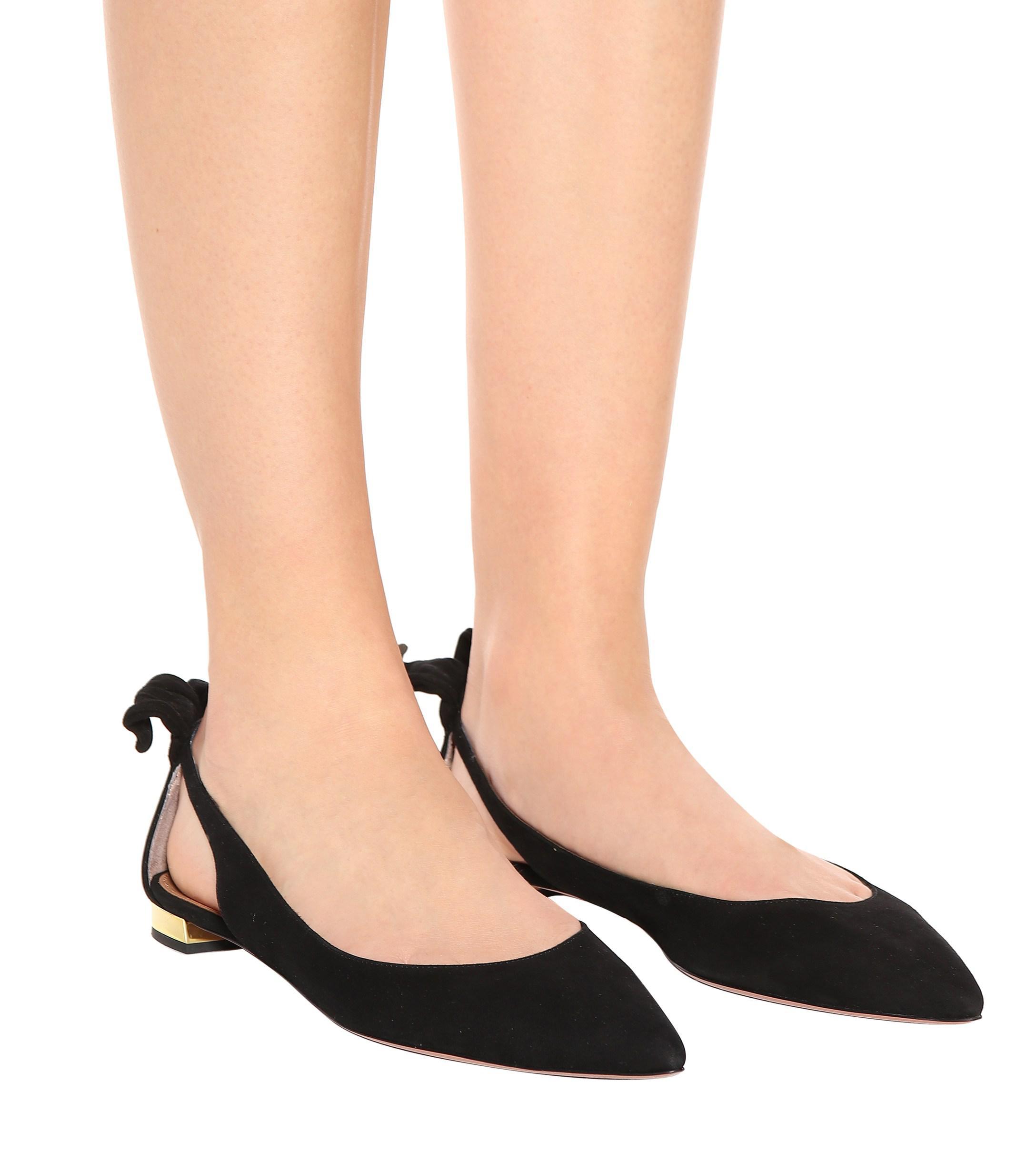 Aquazzura Bow Tie Suede Ballet Flats in