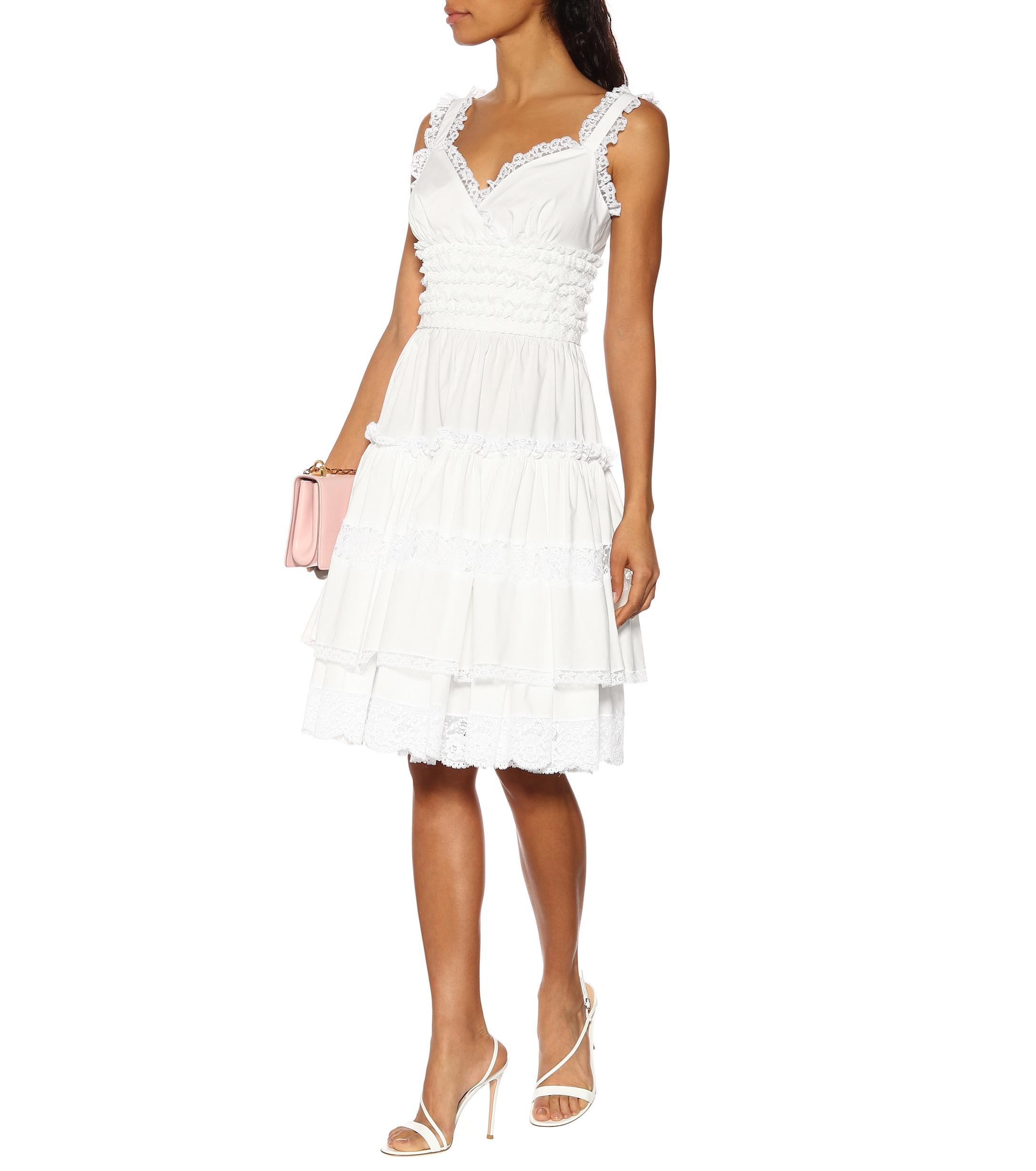 Robe en coton à finitions en dentelle Dolce & Gabbana en coloris Blanc