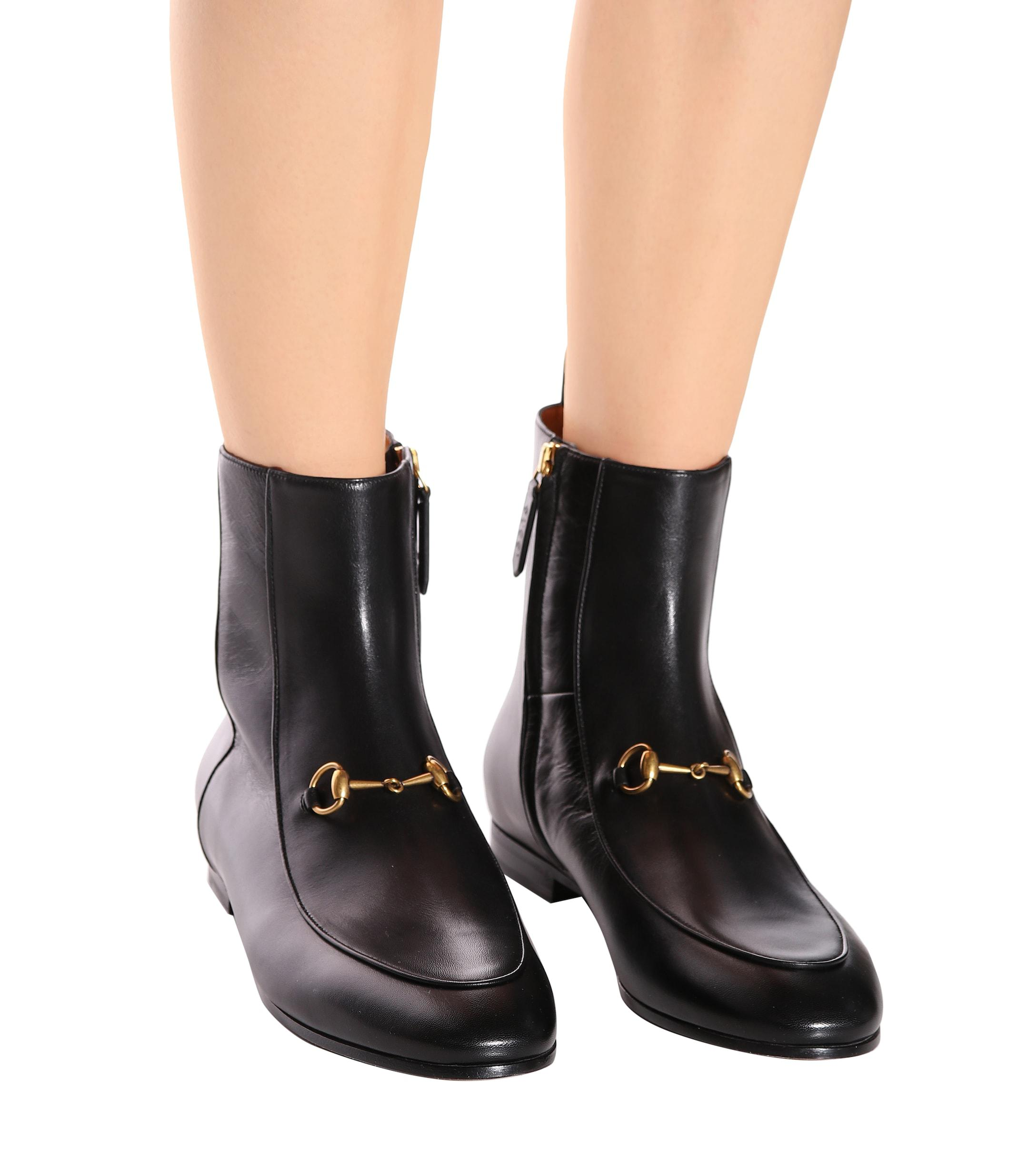 Gucci Jordaan Leather Ankle Boot in