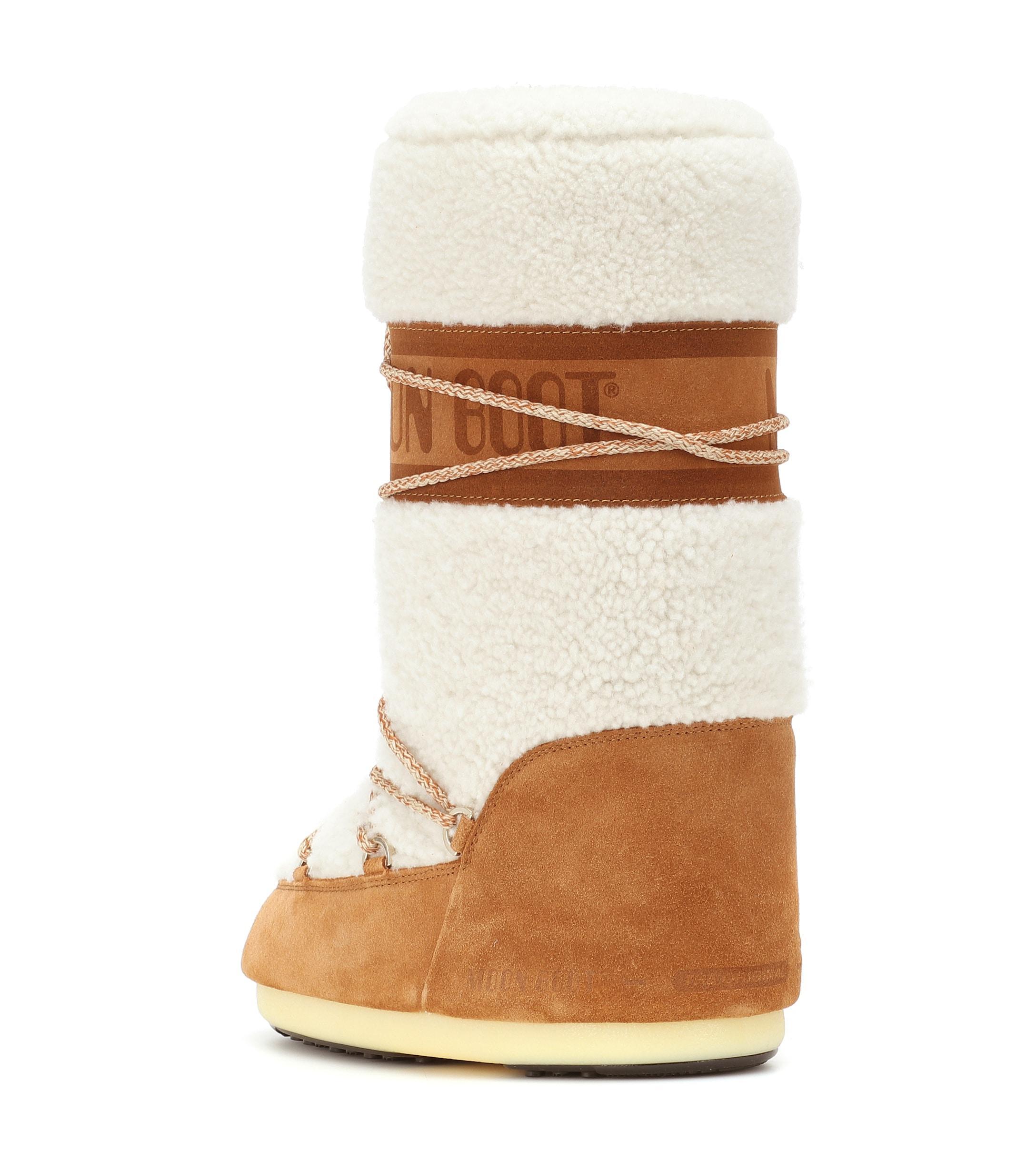 Bottes Wool en daim et shearling Moon Boot en coloris Neutre
