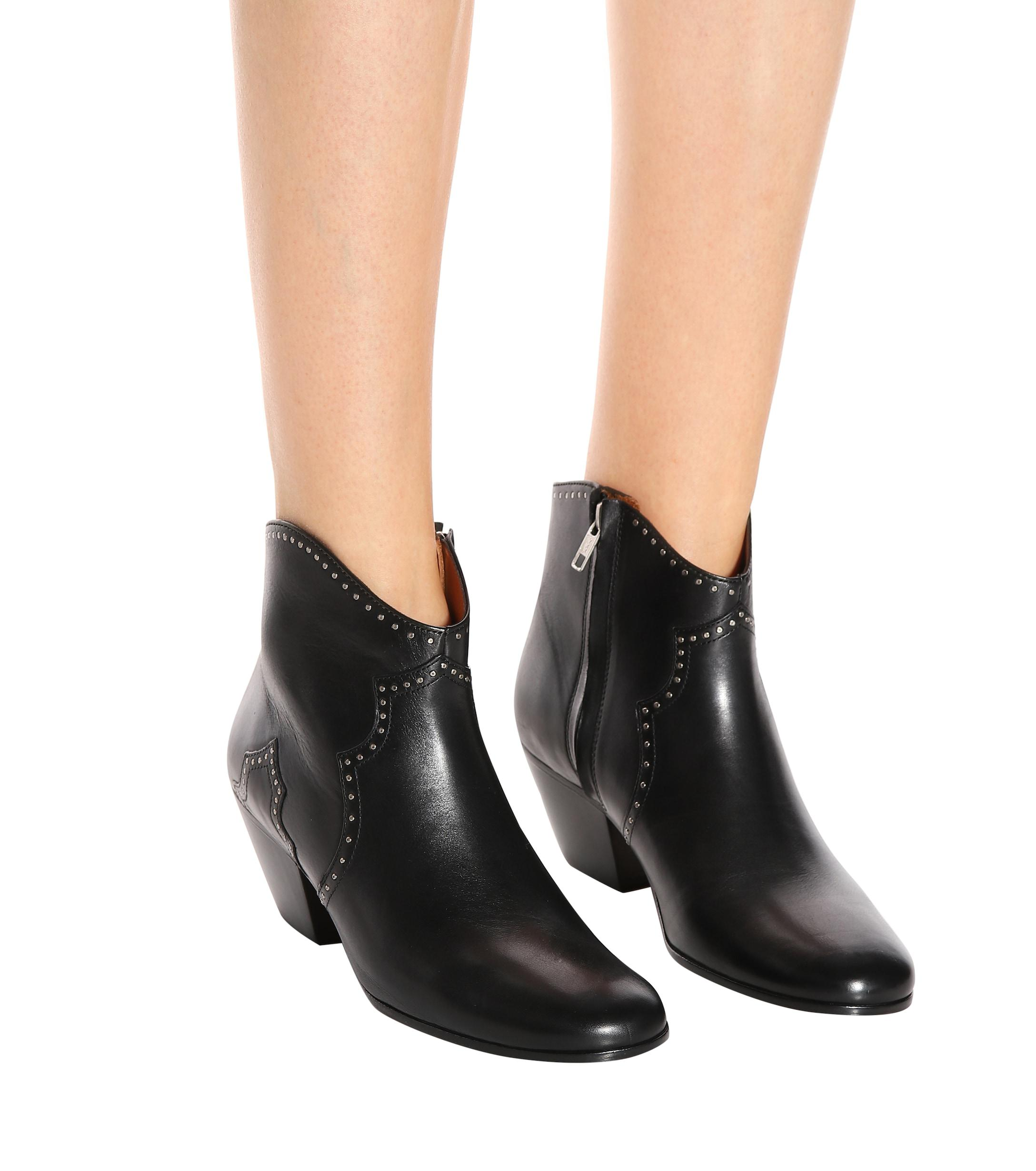Lyst Bottines En Cuir A Clous Dicker Isabel Marant En Coloris Noir