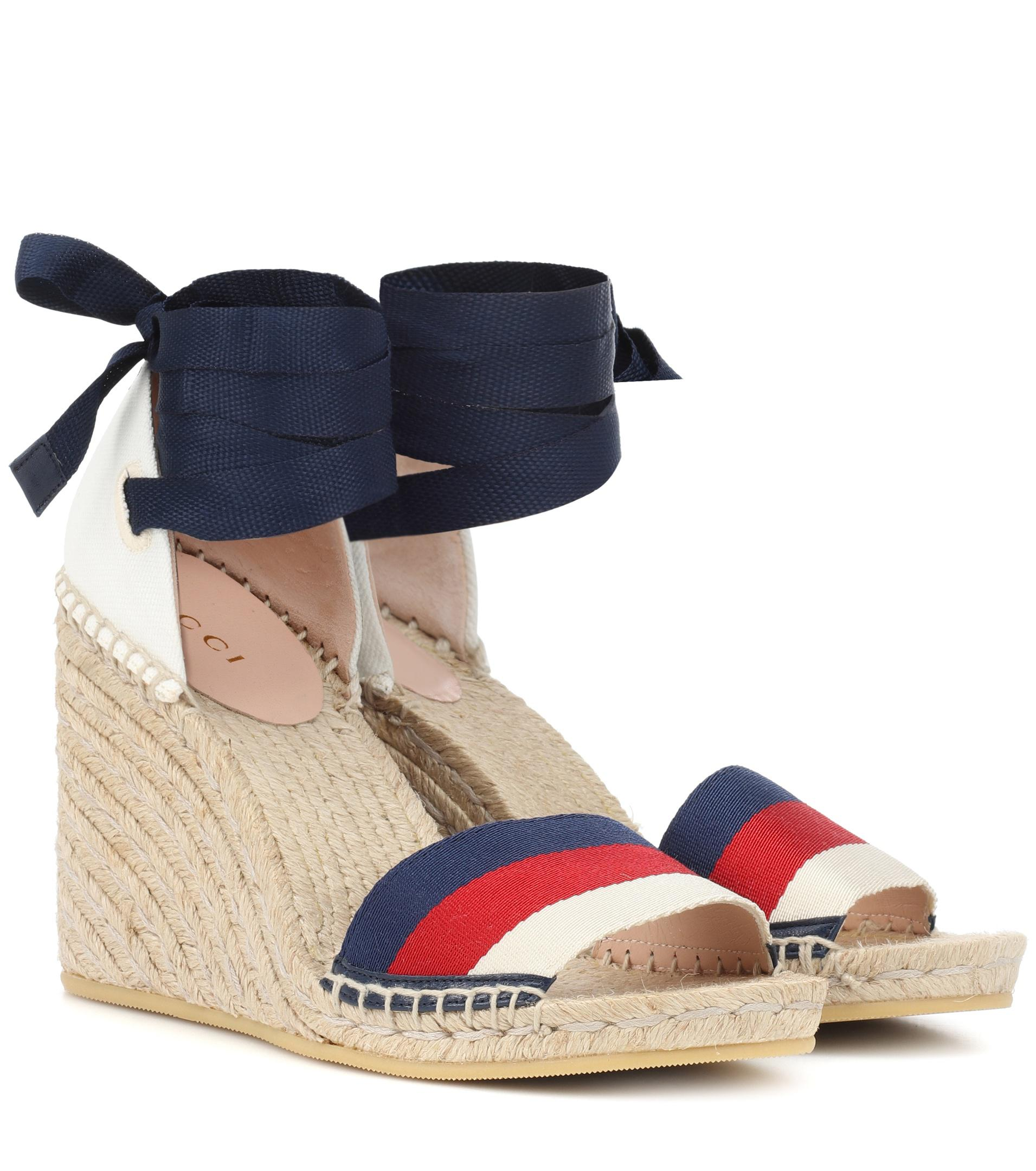 4741979b5d Gucci Sylvie Web Espadrille Wedges in Blue - Lyst