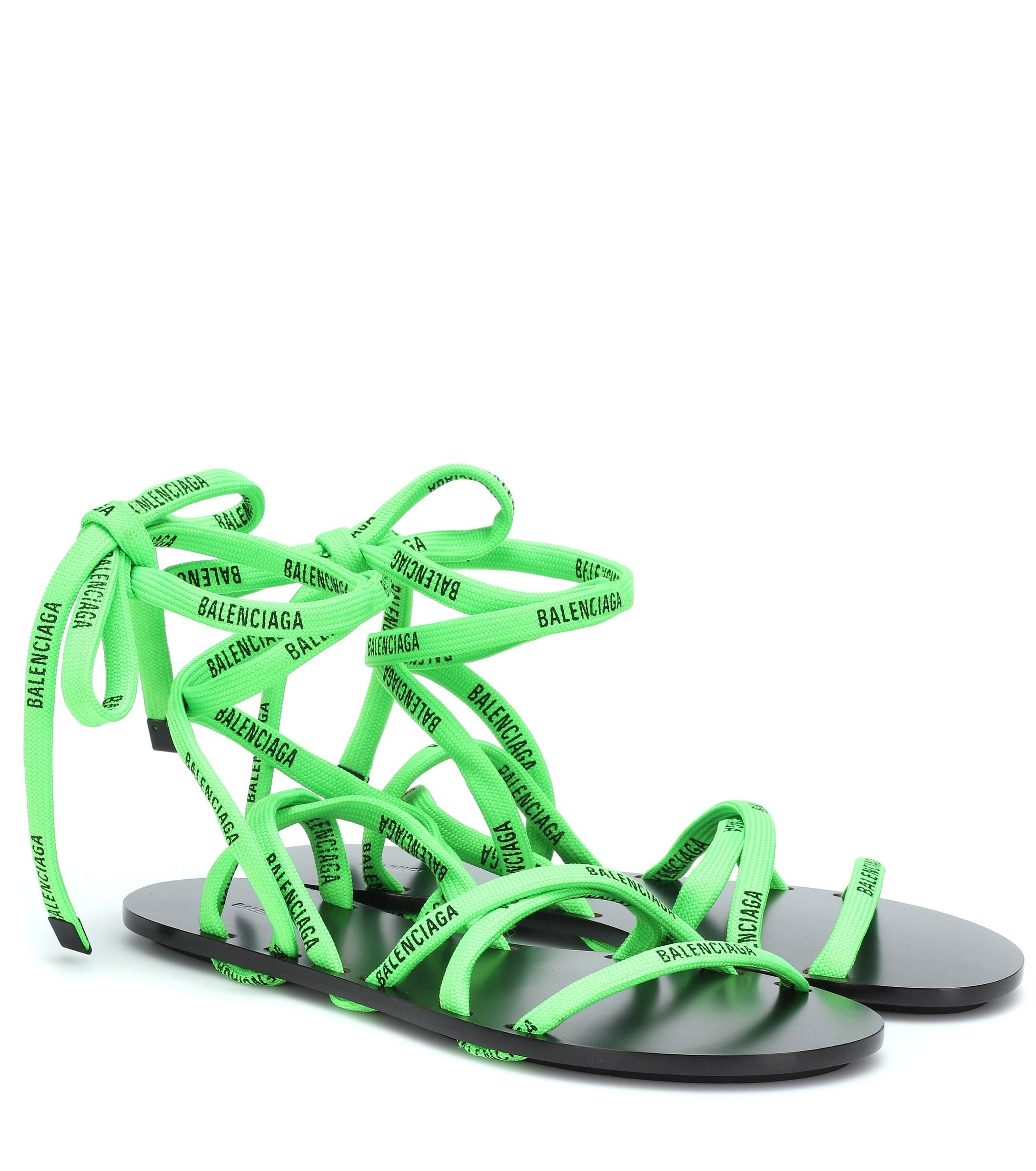 Balenciaga Lace-up Sandals in Green - Lyst