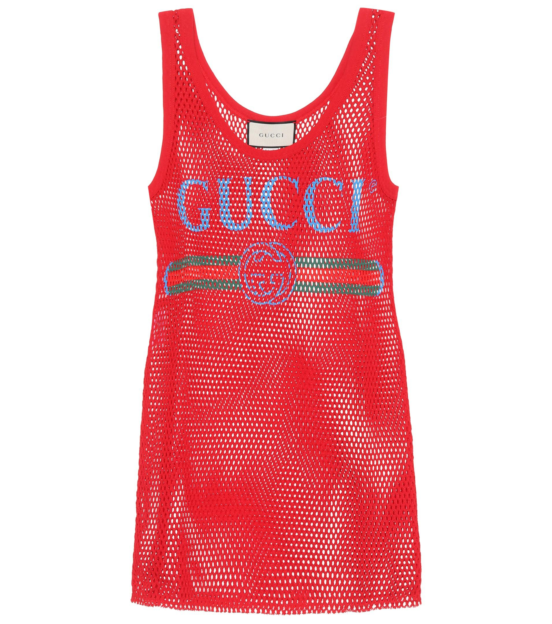 Lyst Gucci Mesh Cotton Tank Top In Red