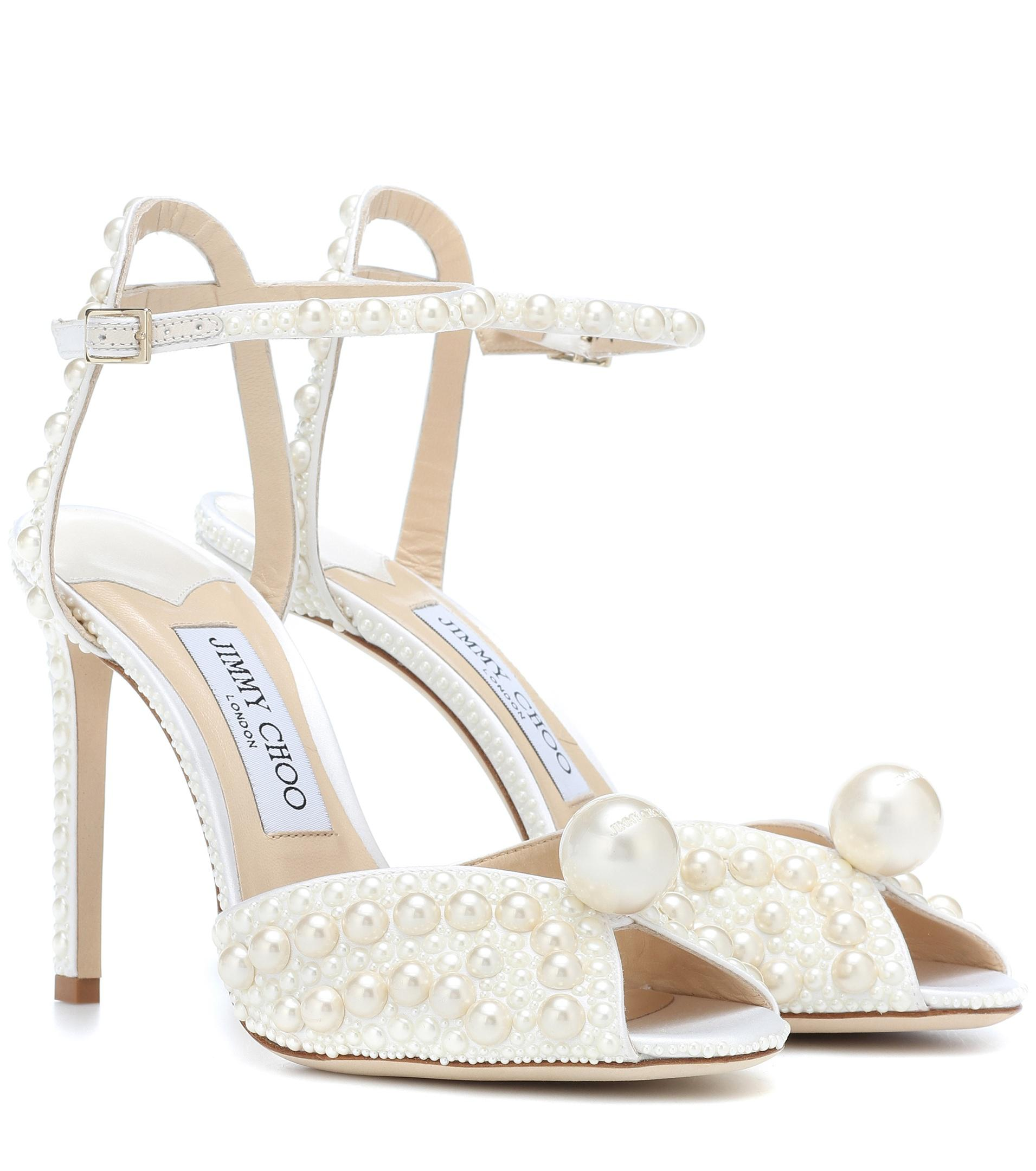 3b245f6fdcb Jimmy Choo Sacora 100 Embellished Sandals in White - Lyst