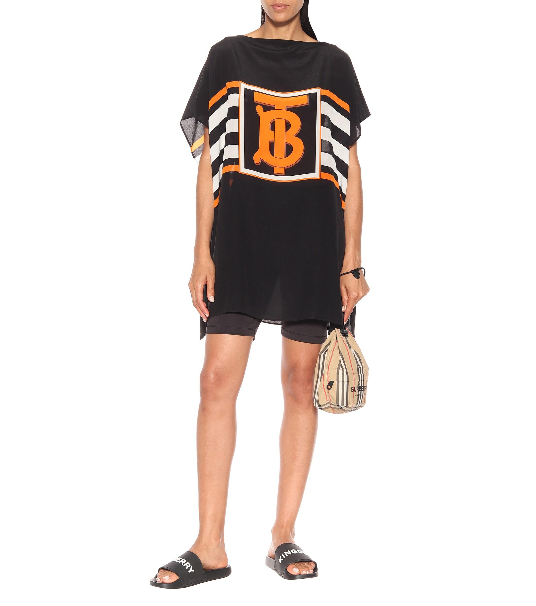 Exclusivité Mytheresa �?Top kimono Fern imprimé en soie Soie Burberry en coloris Noir