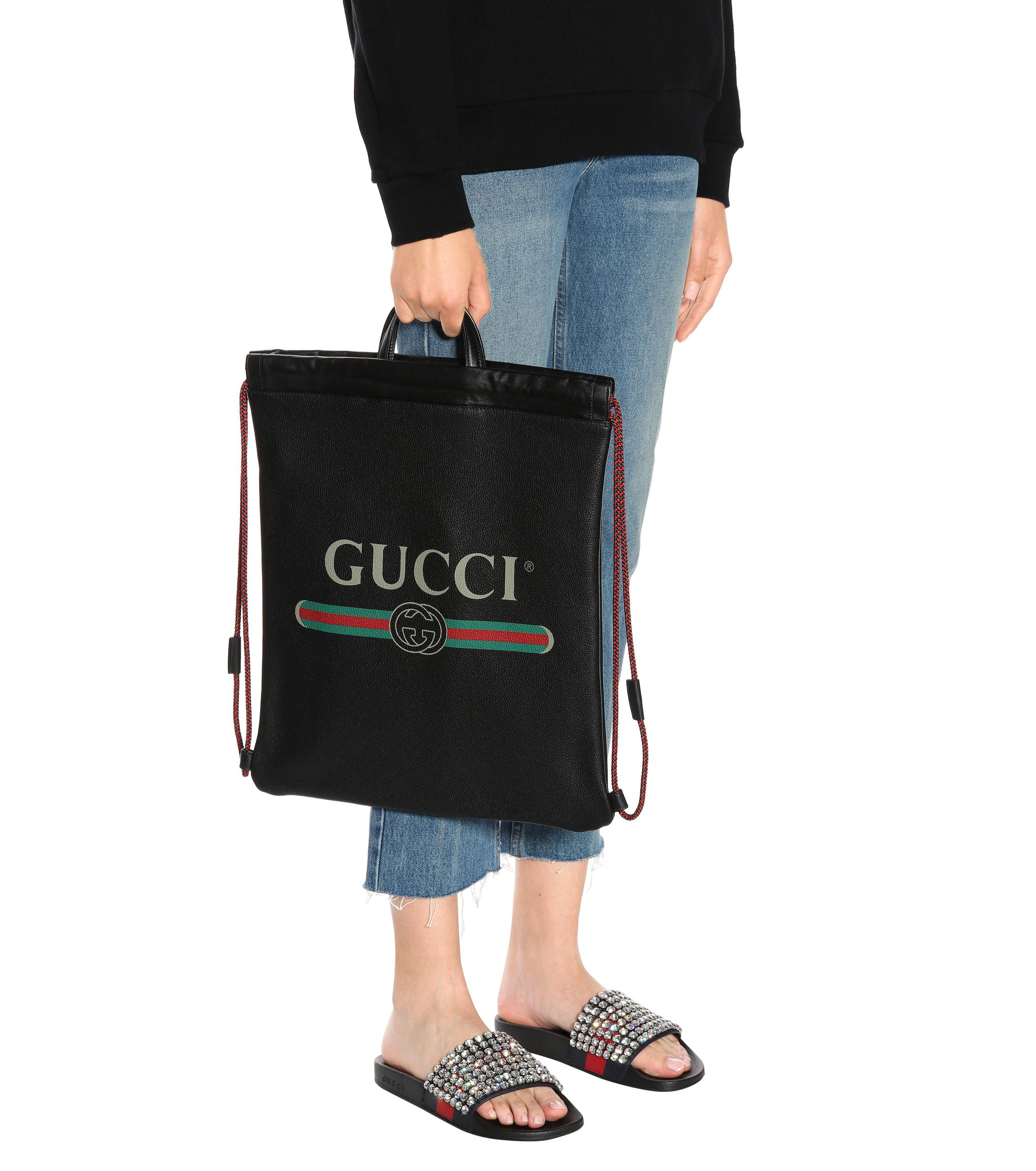 828a1f532e6a Gucci - Black Printed Leather Drawstring Backpack - Lyst. View fullscreen