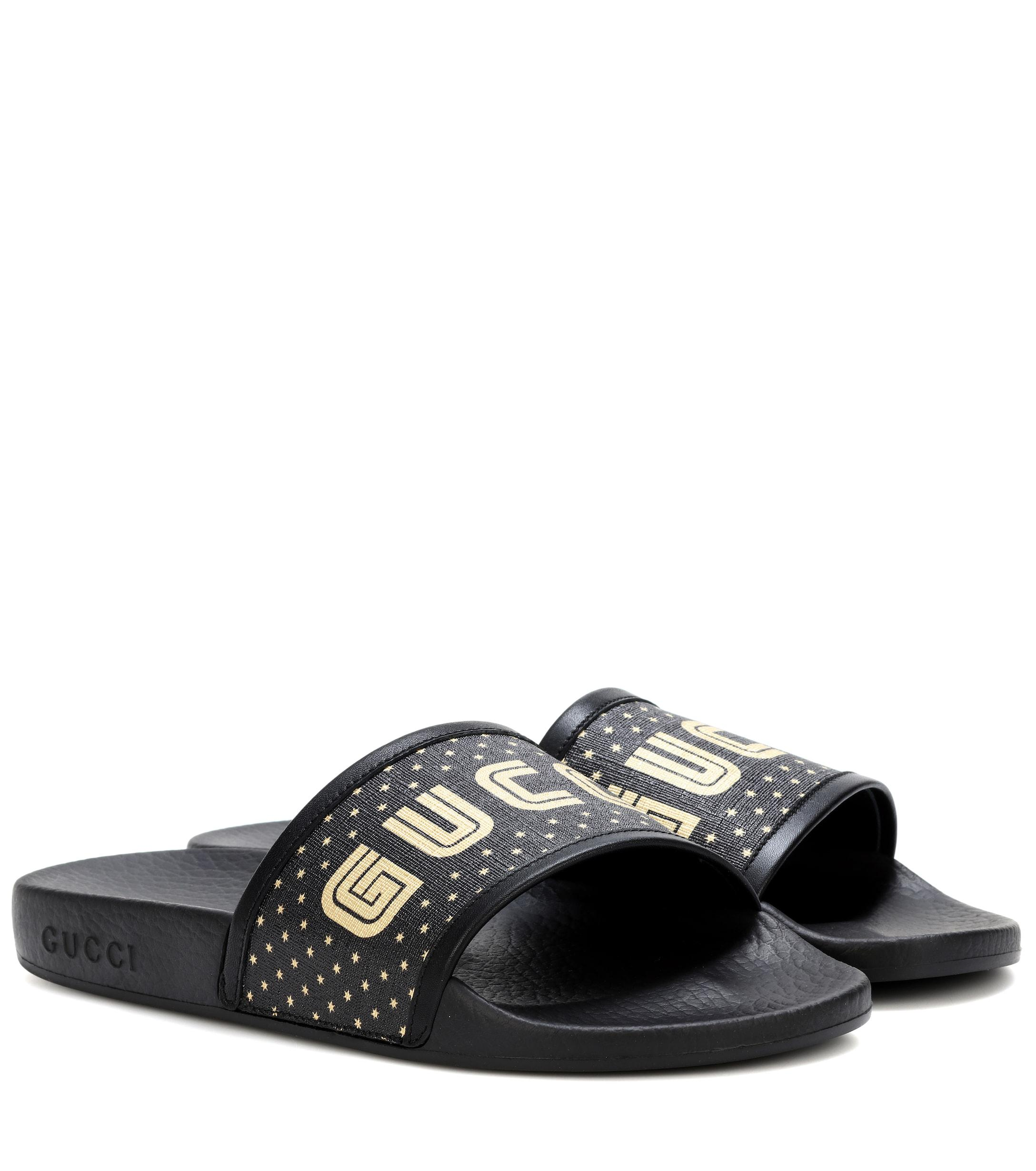 0eb85207c0b Gucci Logo Slides in Black - Lyst