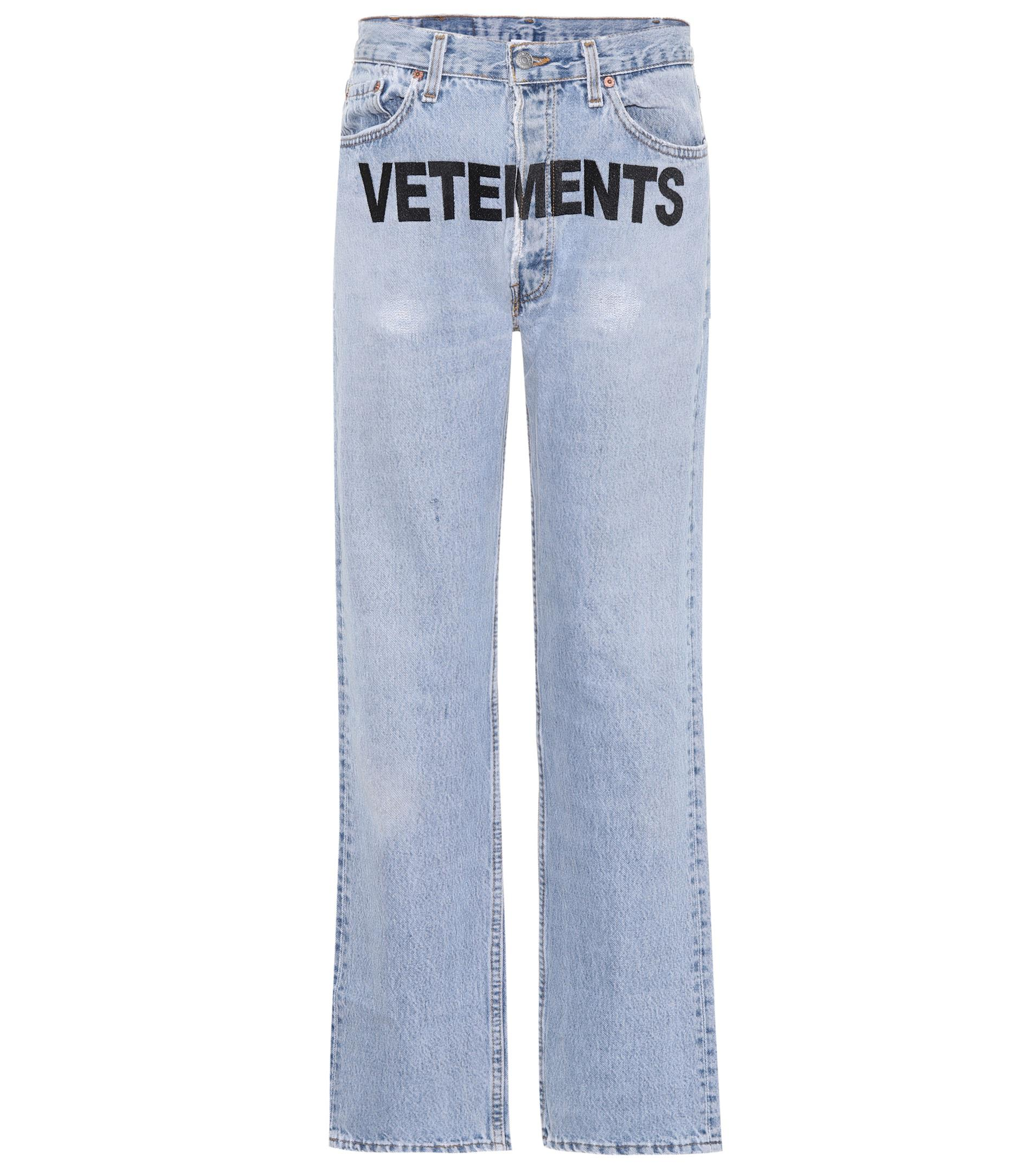 Vetements levi s embroidered jeans in blue lyst