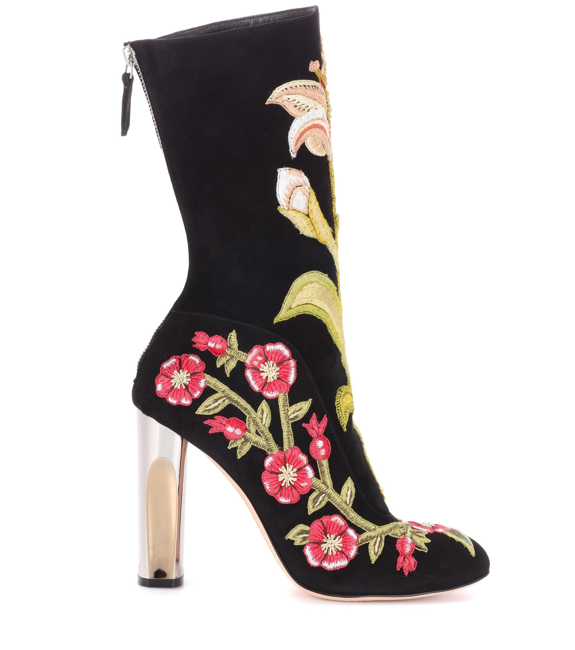 Alexander McQueen - Embroidered stretch-knit ankle boots
