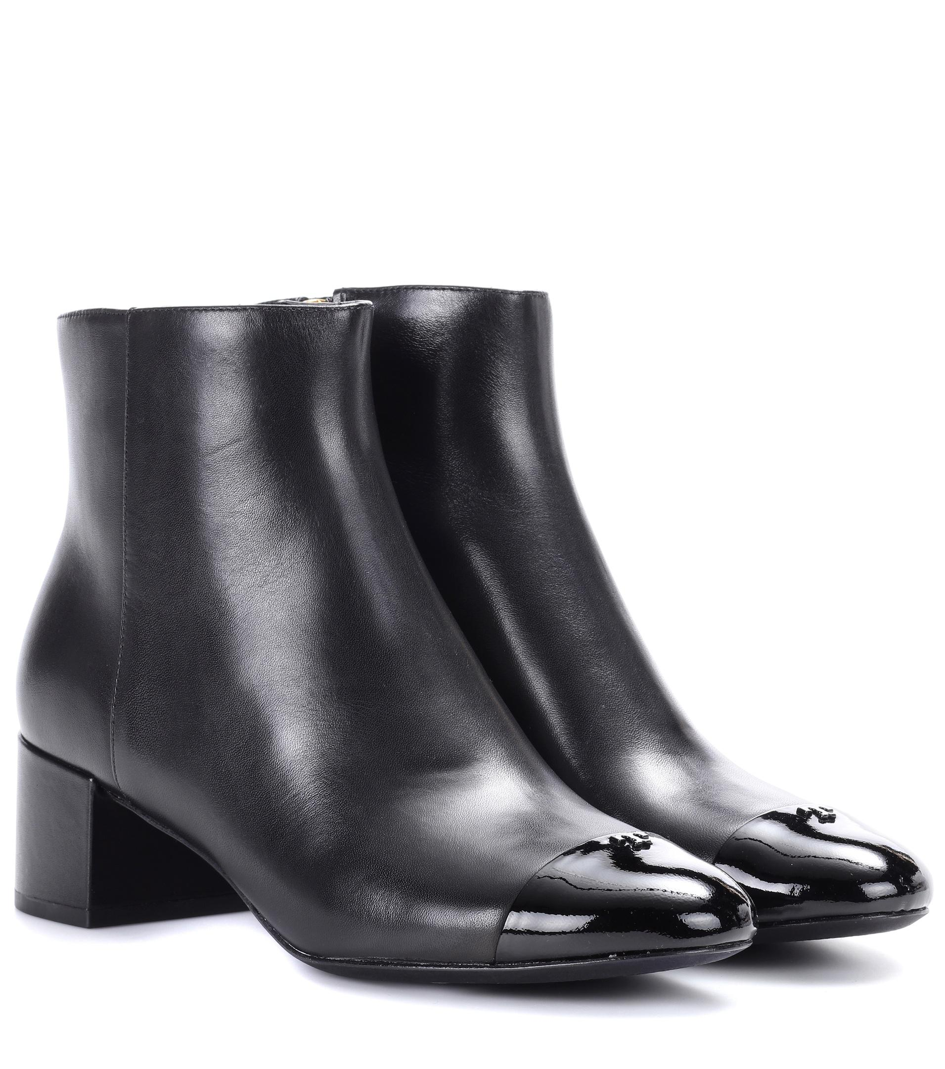 ffc84811947e Lyst - Tory Burch Shelby Leather Ankle Boots in Black