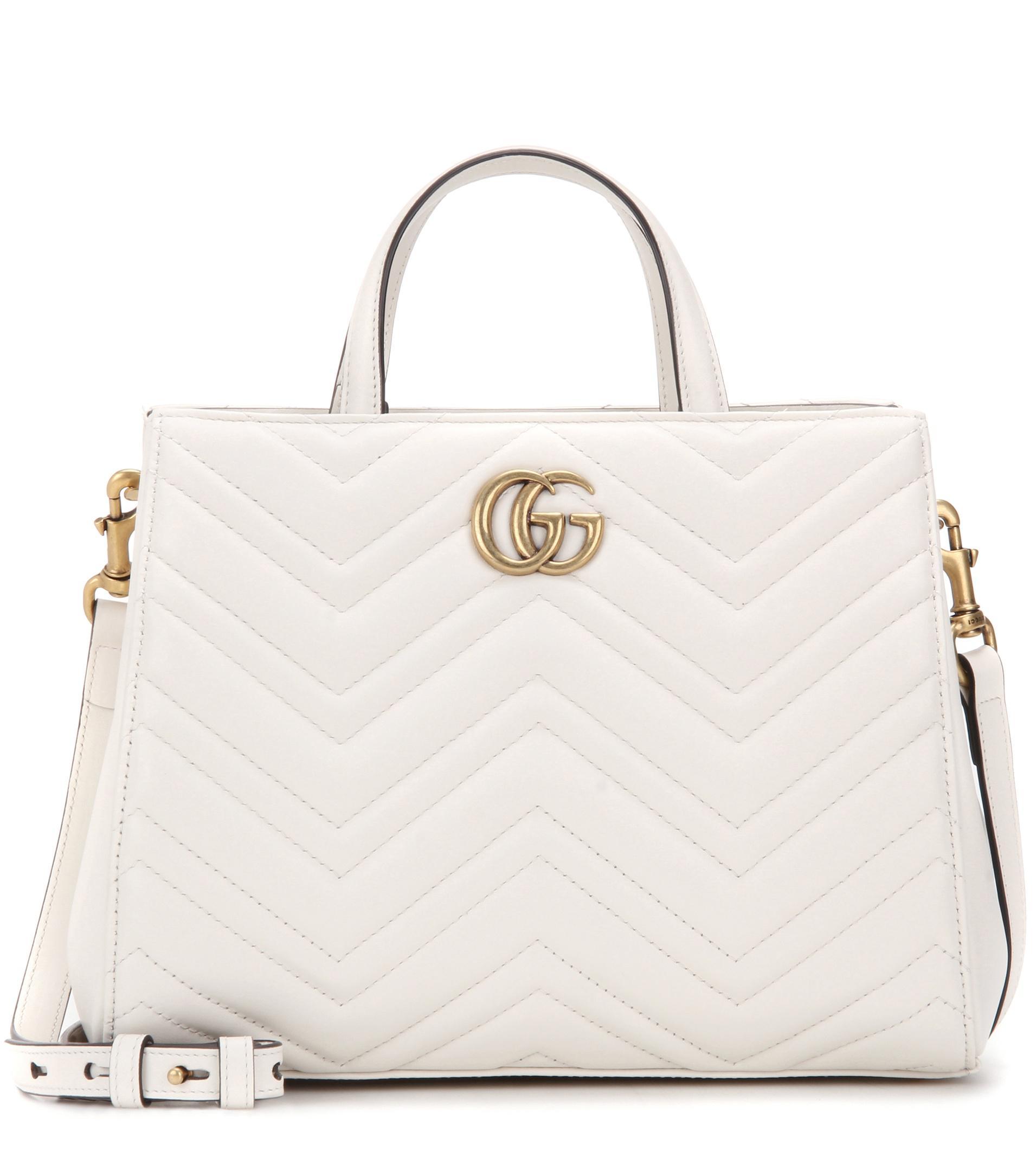 0da22e2cc Gucci Gg Marmont Small Matelassé Leather Tote in White - Lyst