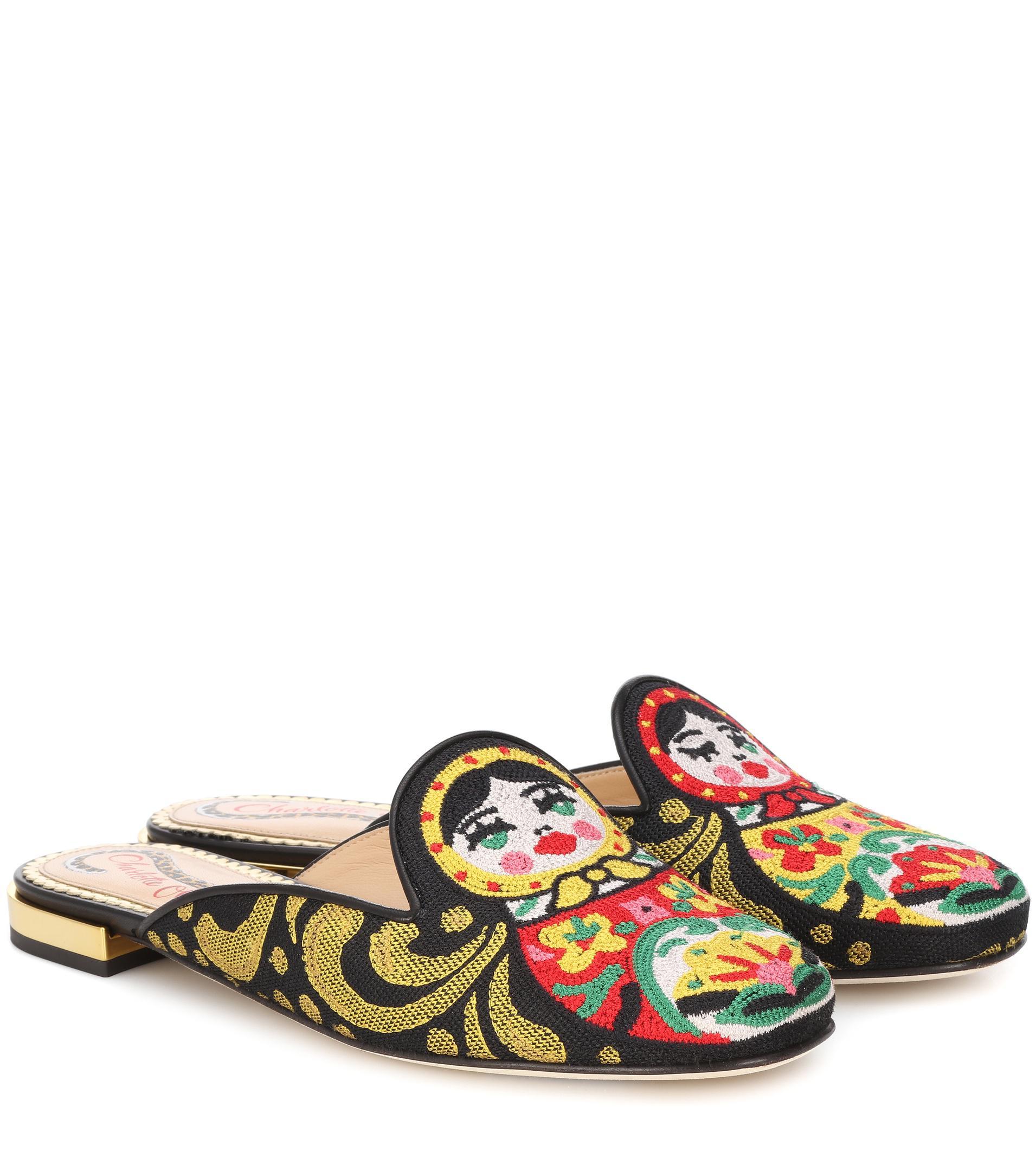 Charlotte Olympia Needlepoint matryoshka slippers fMHYE