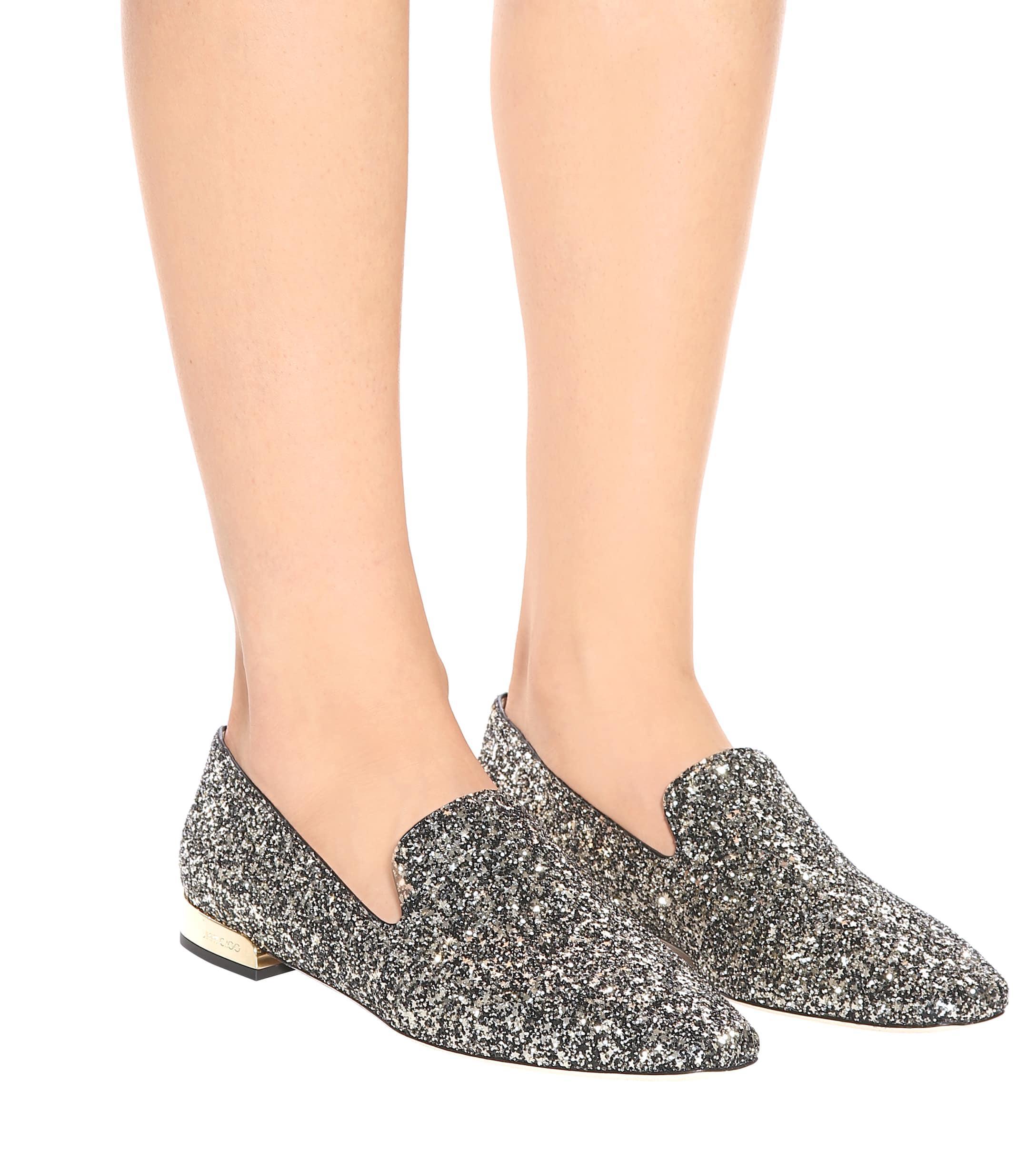 Slippers à paillettes Jaida Cuir Jimmy Choo en coloris Métallisé