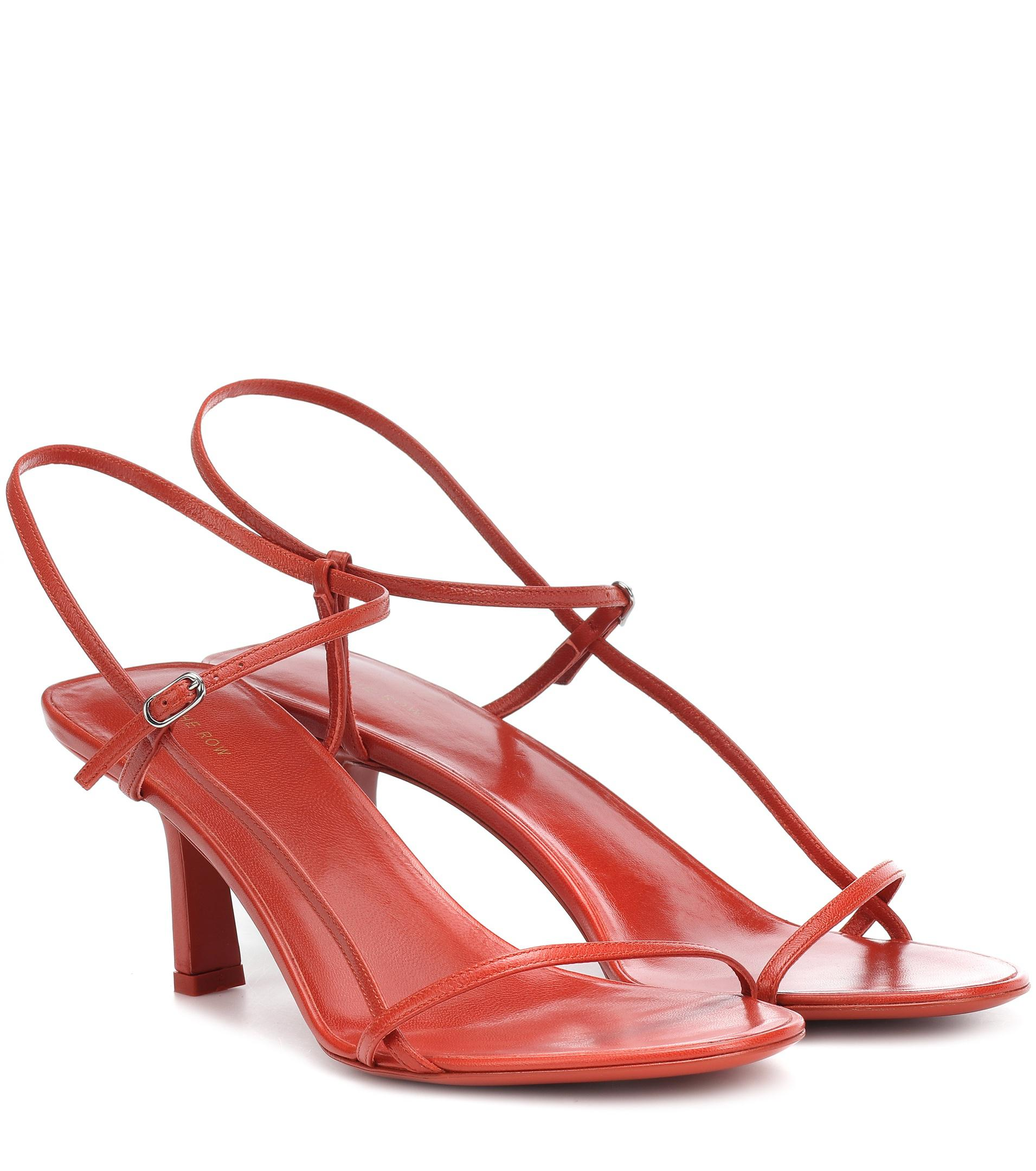 The Row Bare Leather Sandals In Red Lyst