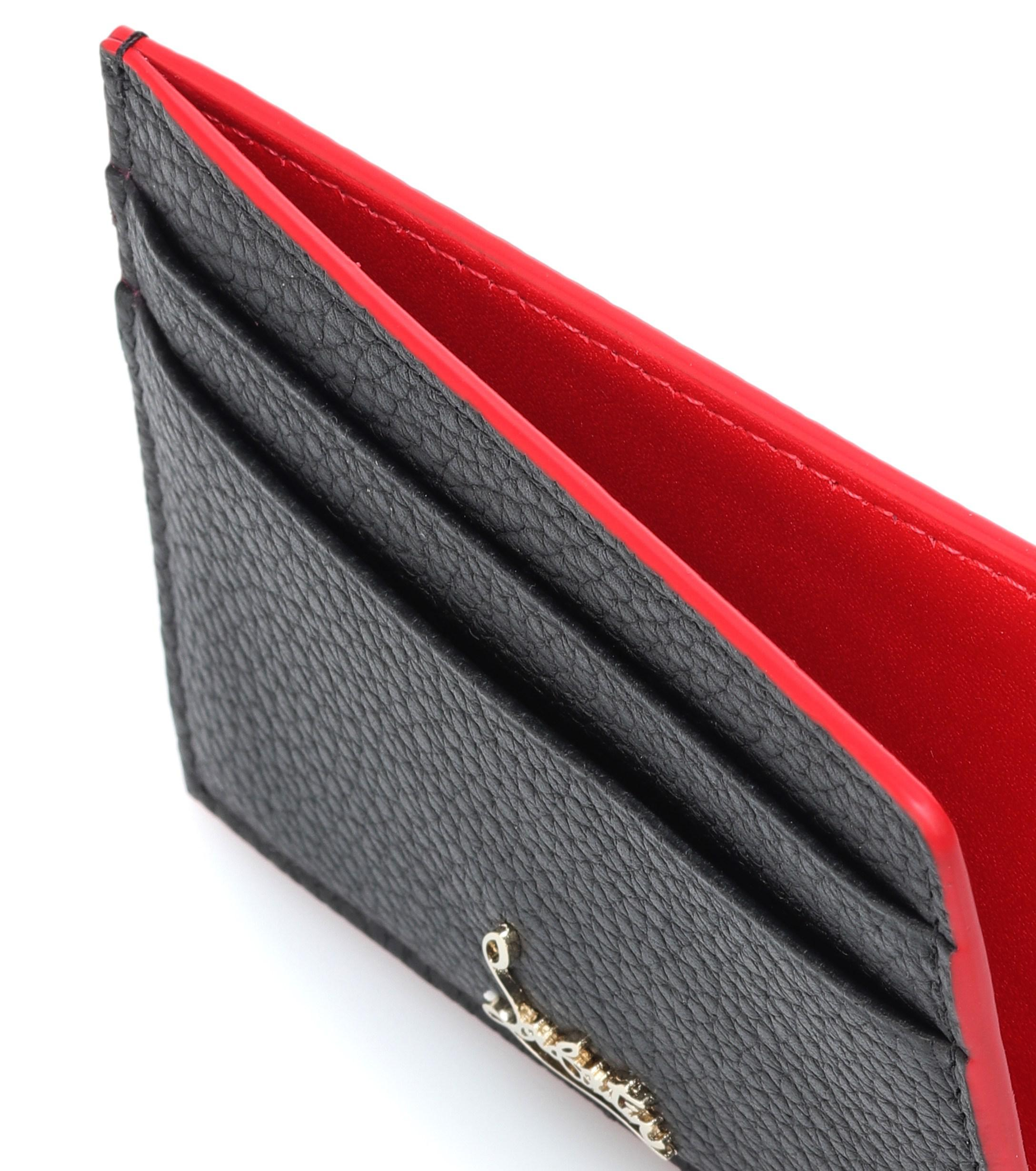 a949784514a29 Lyst - Christian Louboutin Leather Card Holder in Black