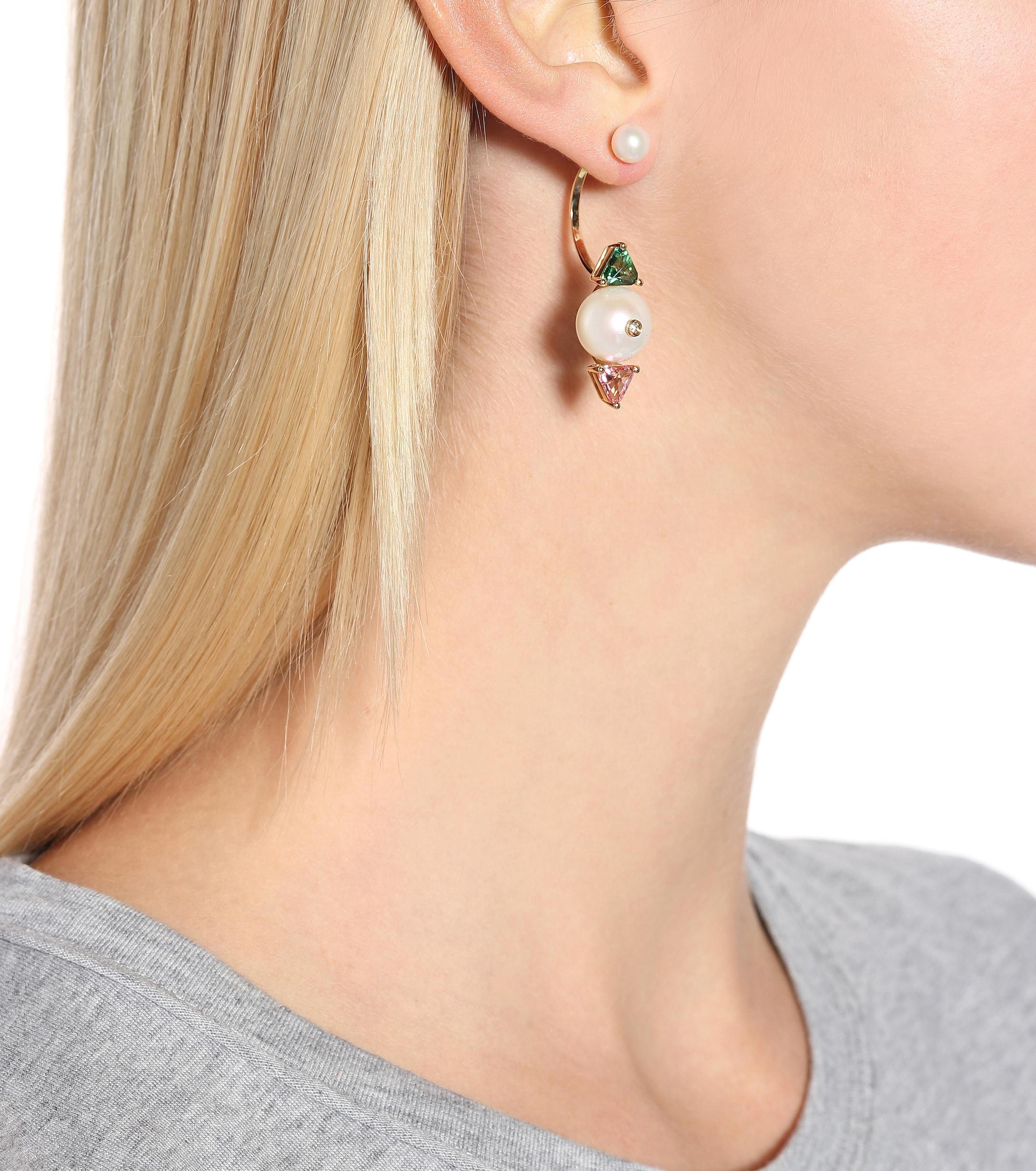 Delfina Delettrez Complex Gemetries 18kt Gold Earring With Topaz, Diamond And Pearls in Metallic