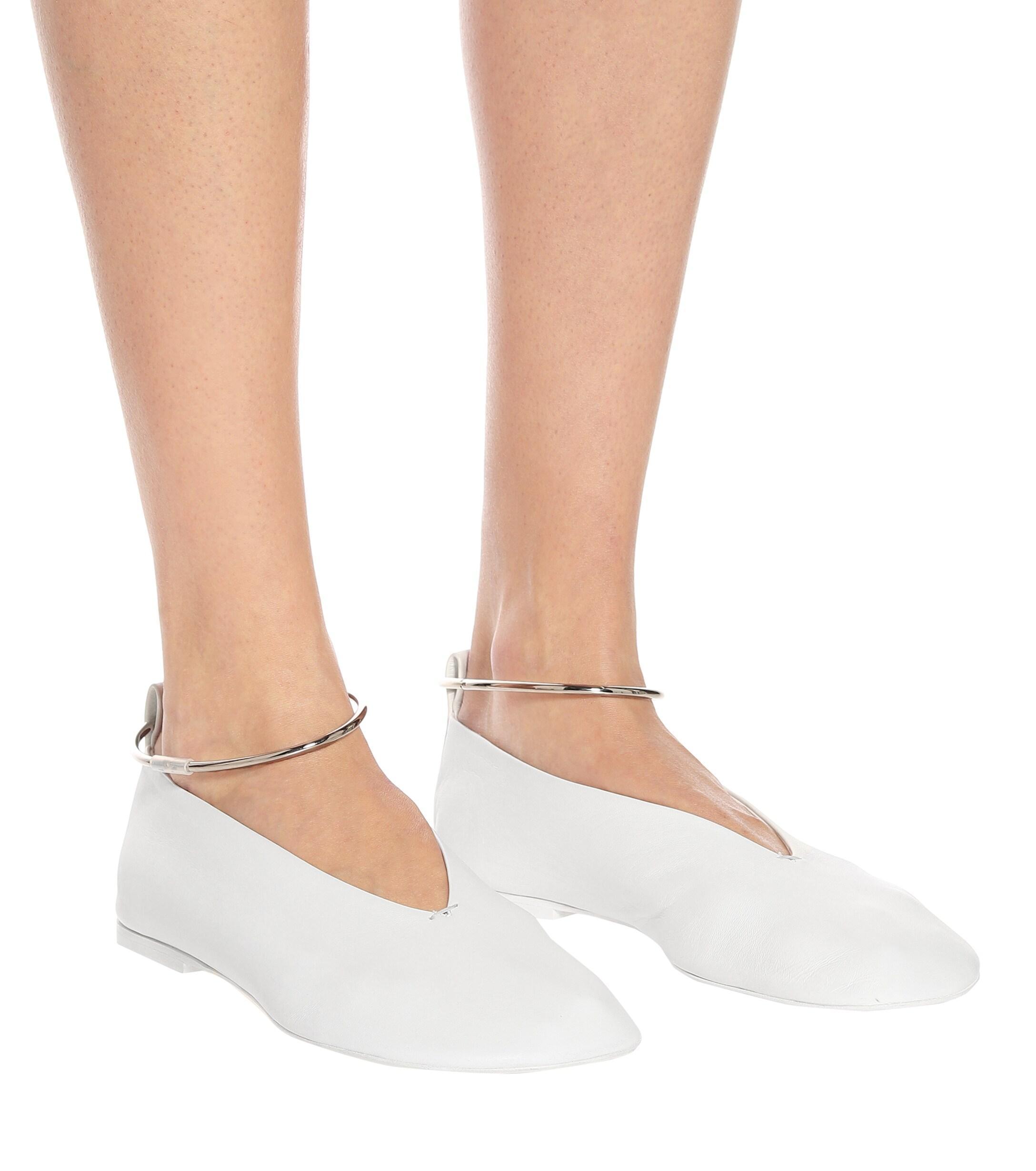 Bailarinas de piel Jil Sander de Cuero de color Blanco